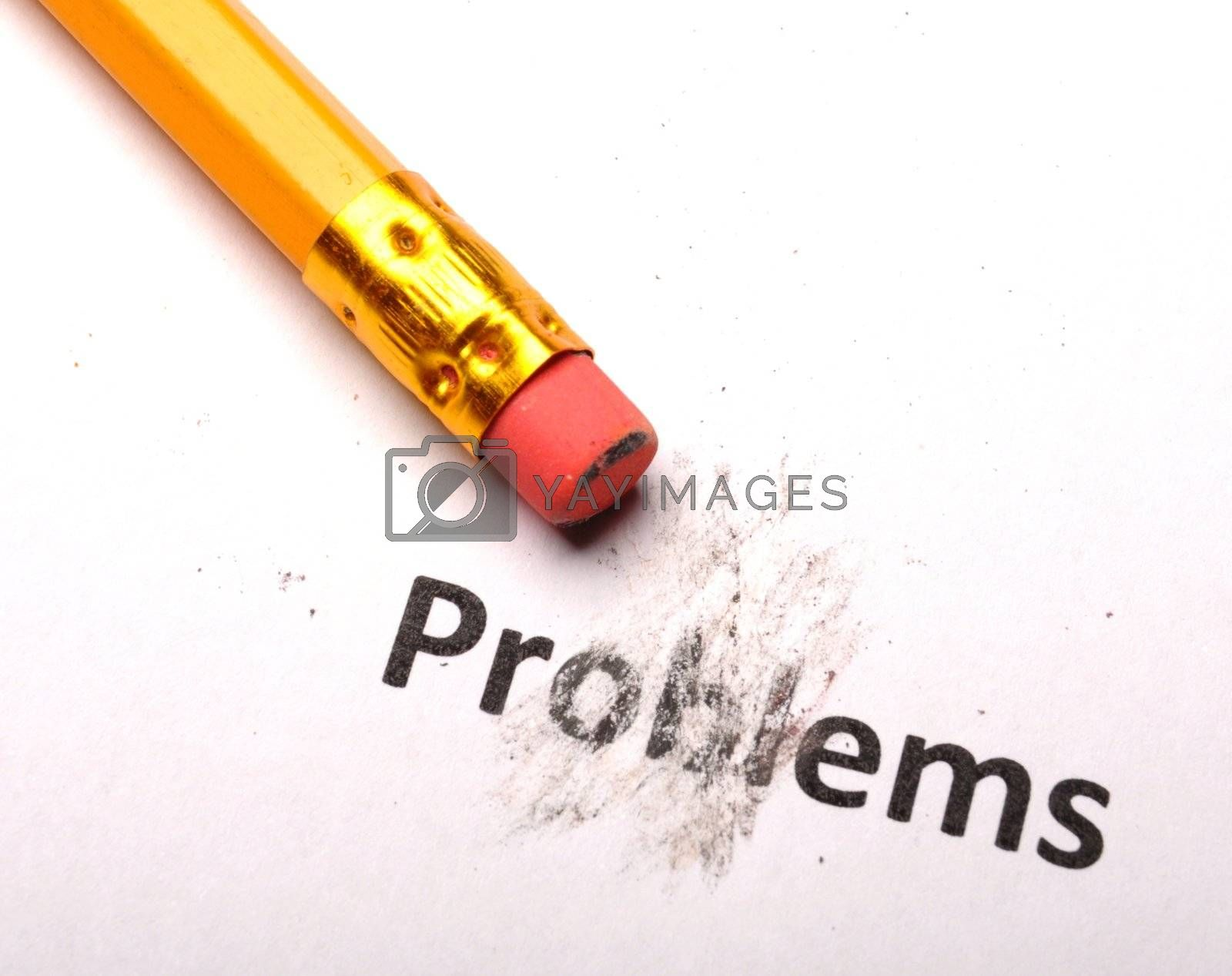 problems or solutions concept with pencil and eraser on white paper