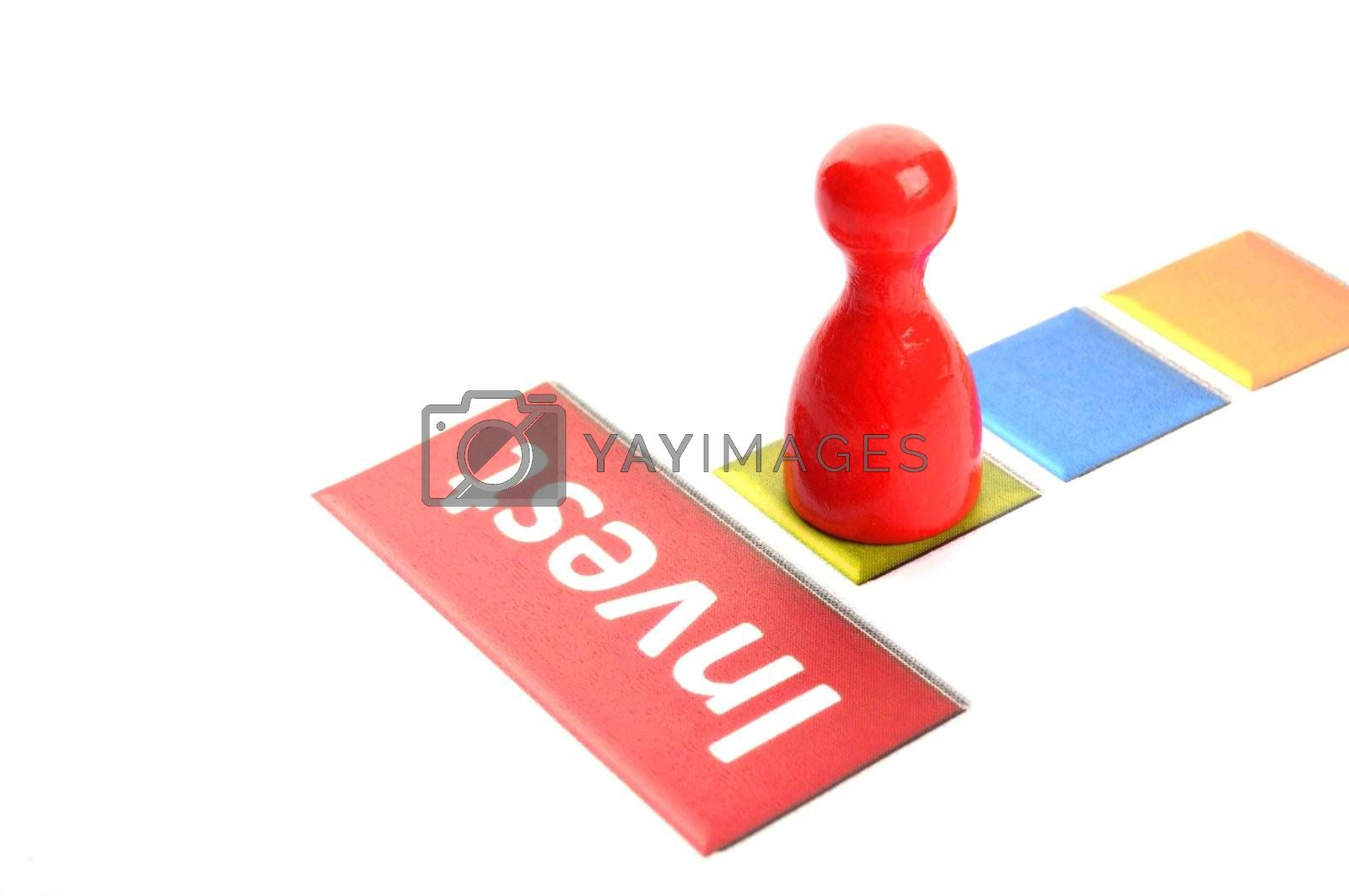 invest investment finance financial or business concept with pawn in white