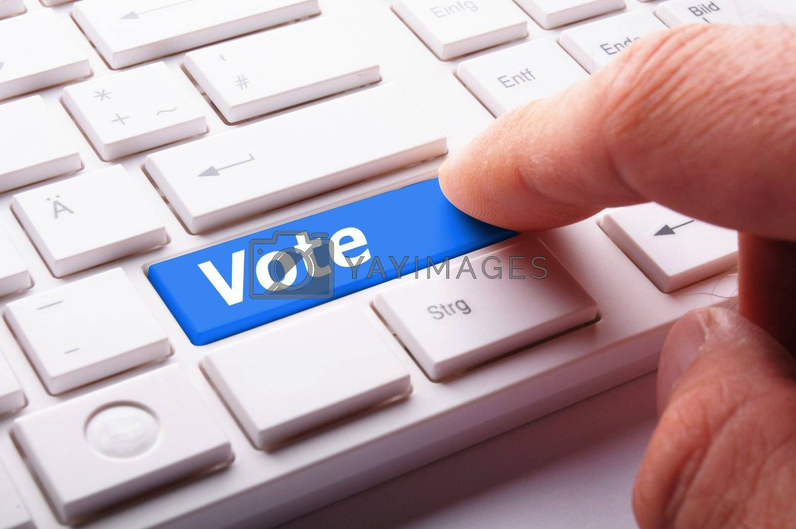 vote word on key or keyboard showing election concept