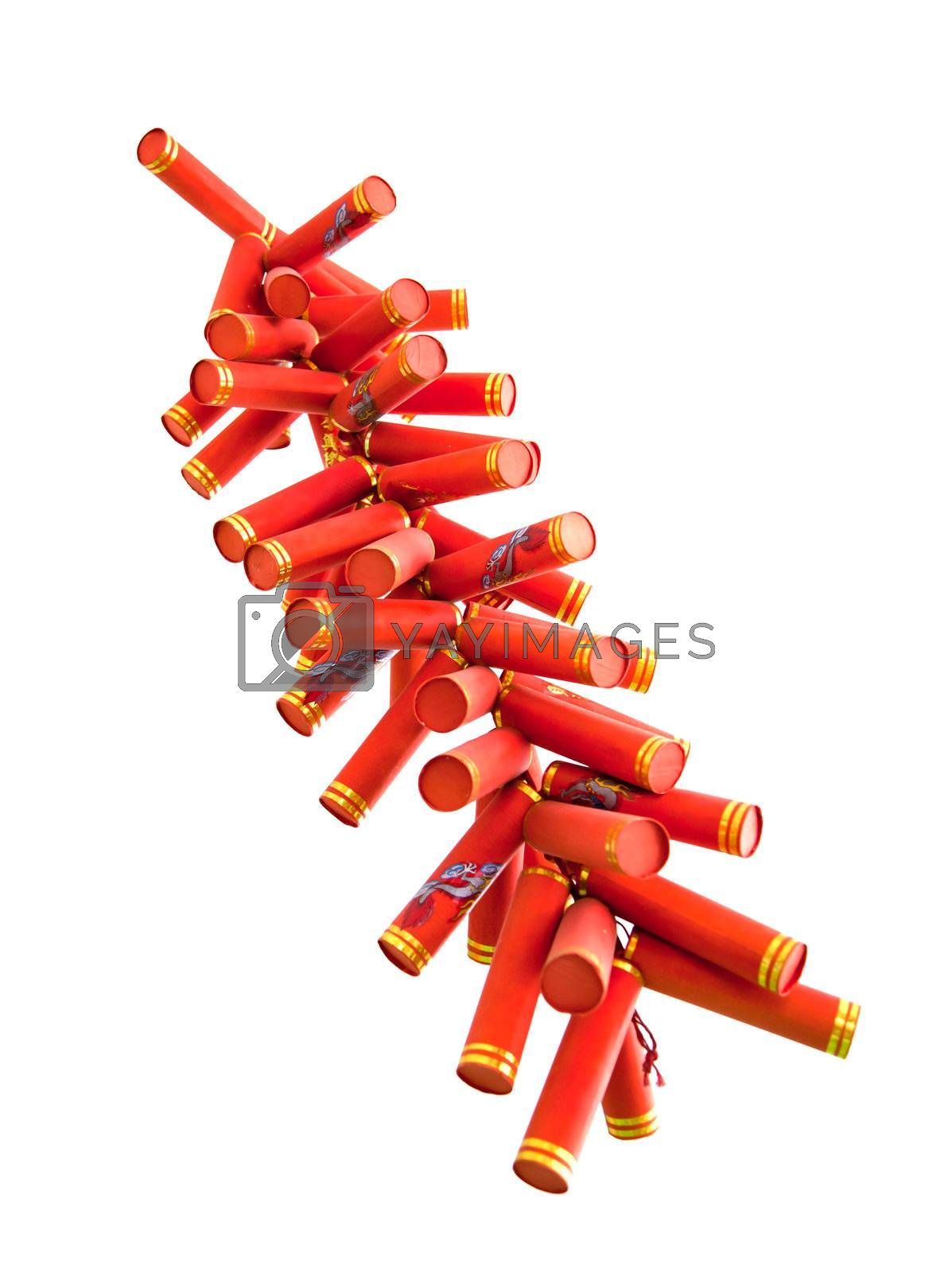 The red chinese firecrackers the symbol of Chinese New Year Festival hanging on white isolated white background.