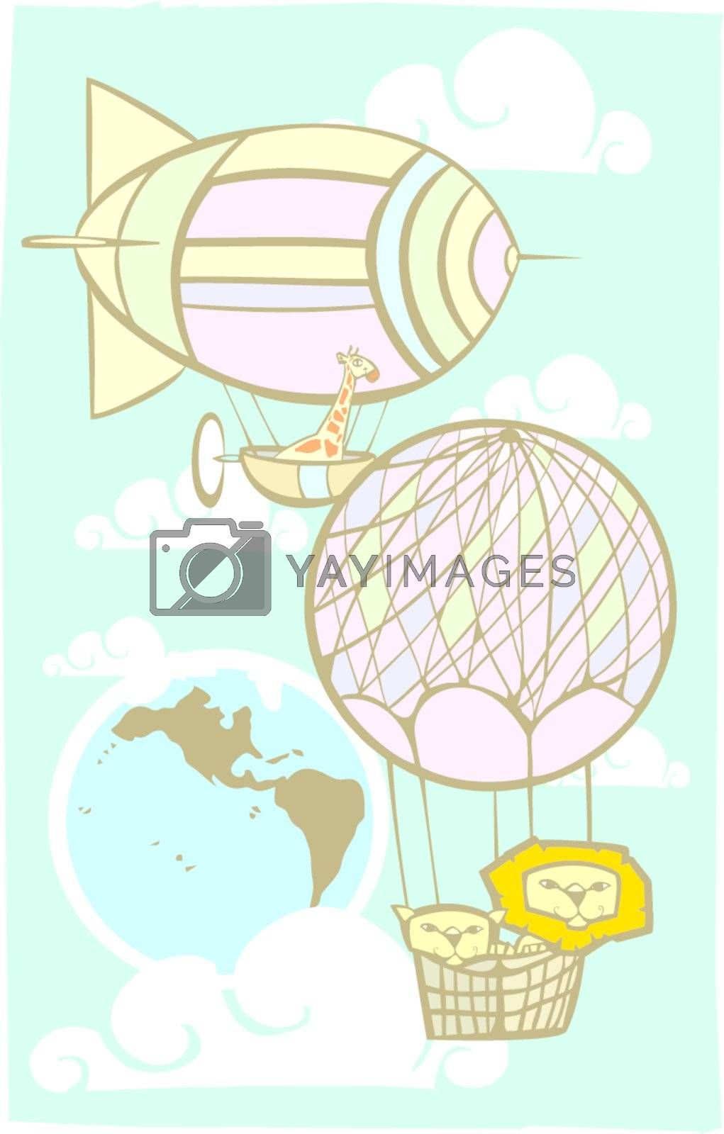 Children's playful image of a Giraffe flying a blimp and two lions in a balloon over the Earth.