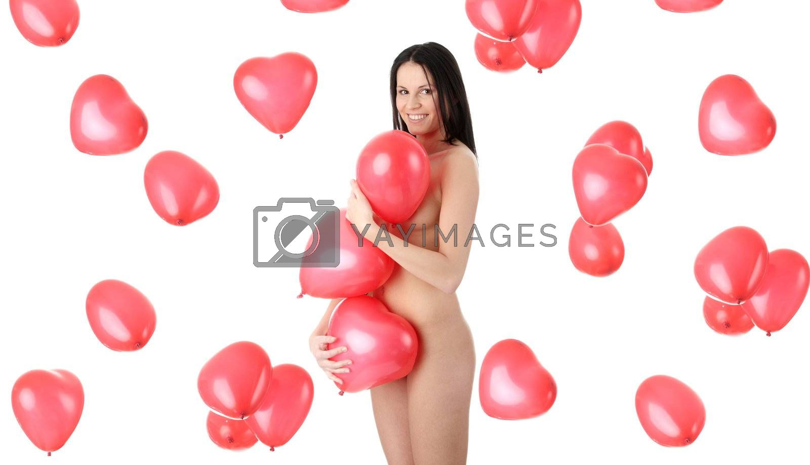 Beautiful nude girl with red heart balloon on a white background (love and valentines concept)