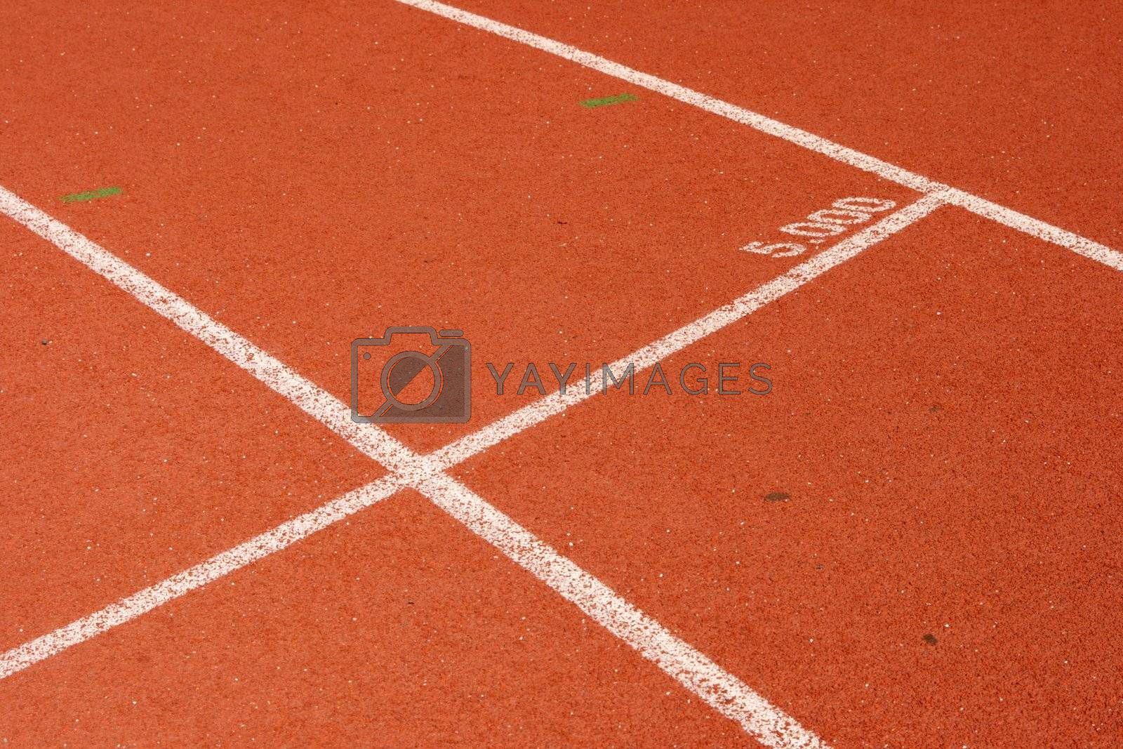 five thousand meters mark detail from race track sports concepts