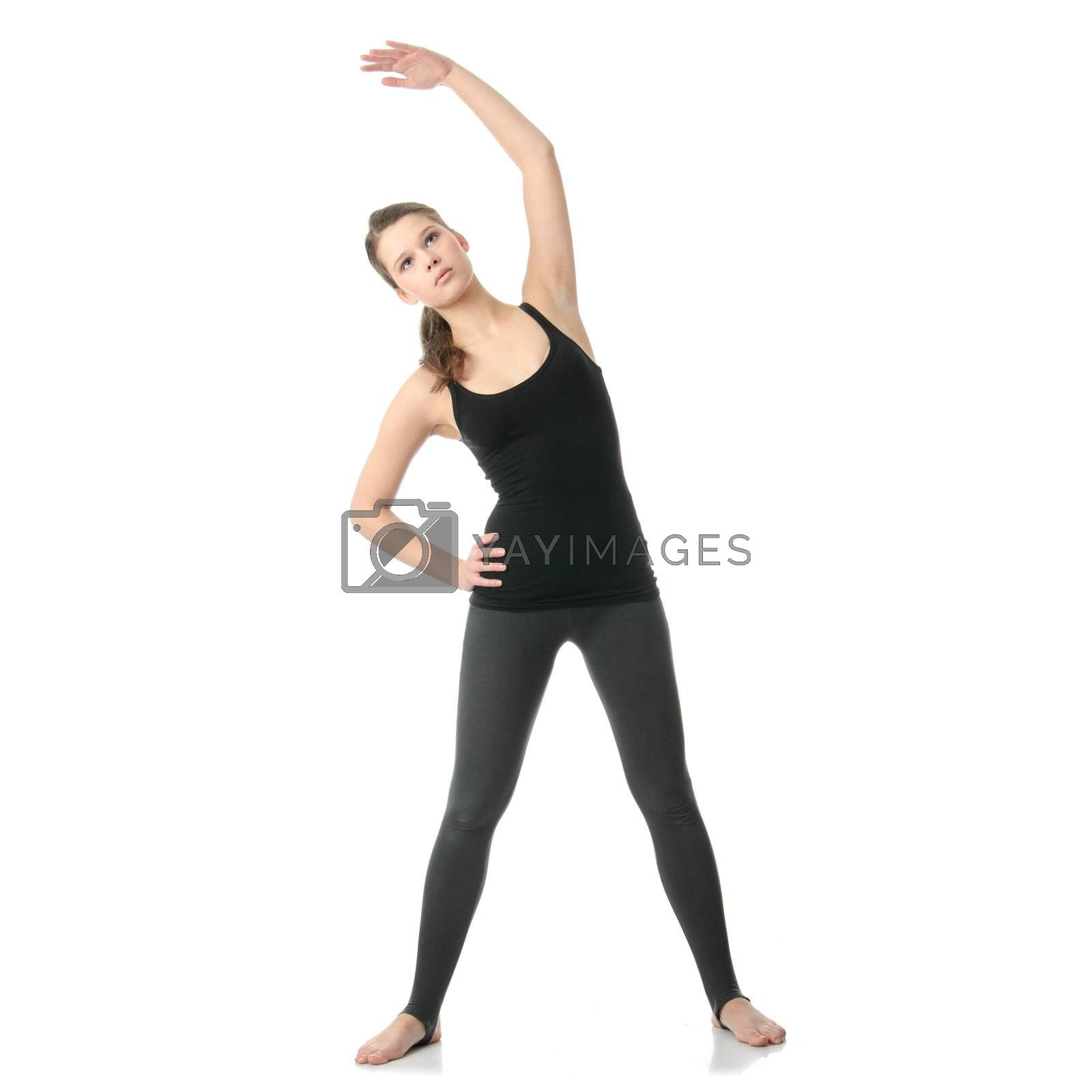 Young beautiful woman during fitness time and exercising, isolated on white background