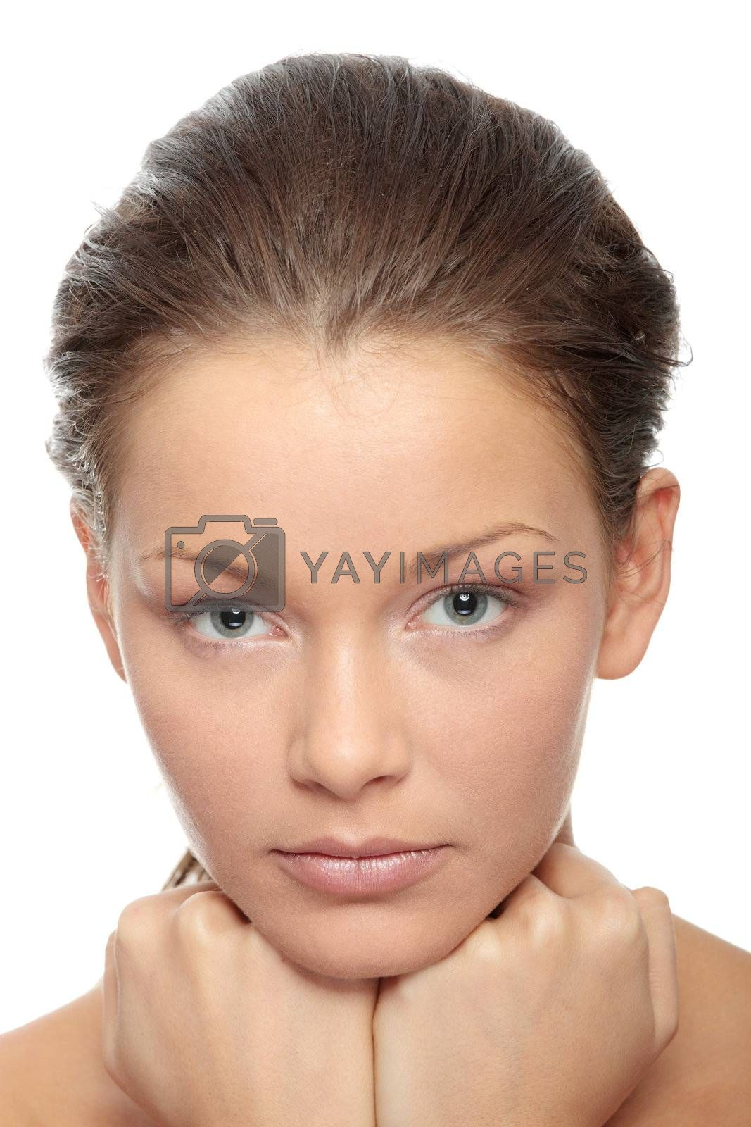 Close-up of beautiful woman face, over white background