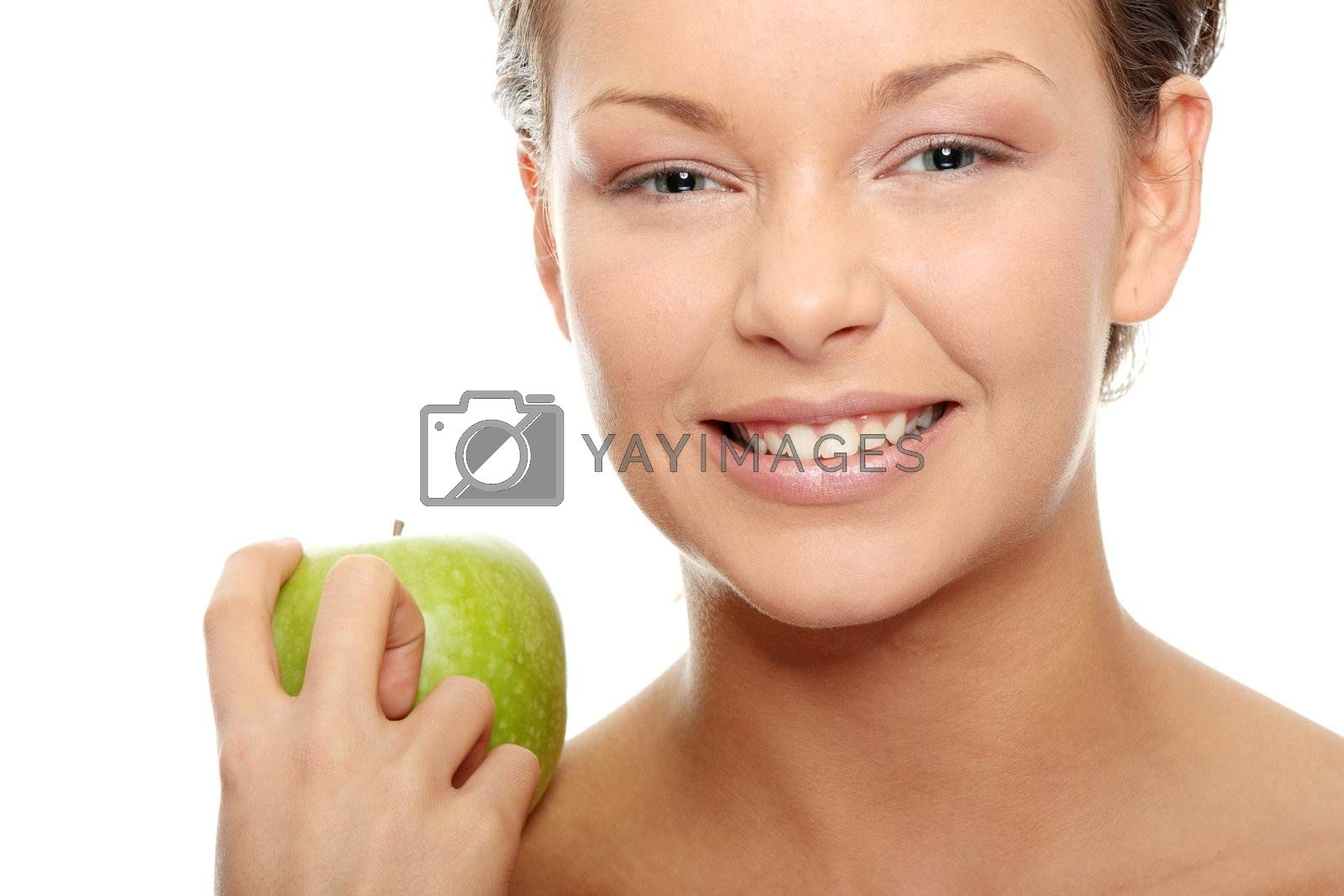 Caucasian beauty with green apple.