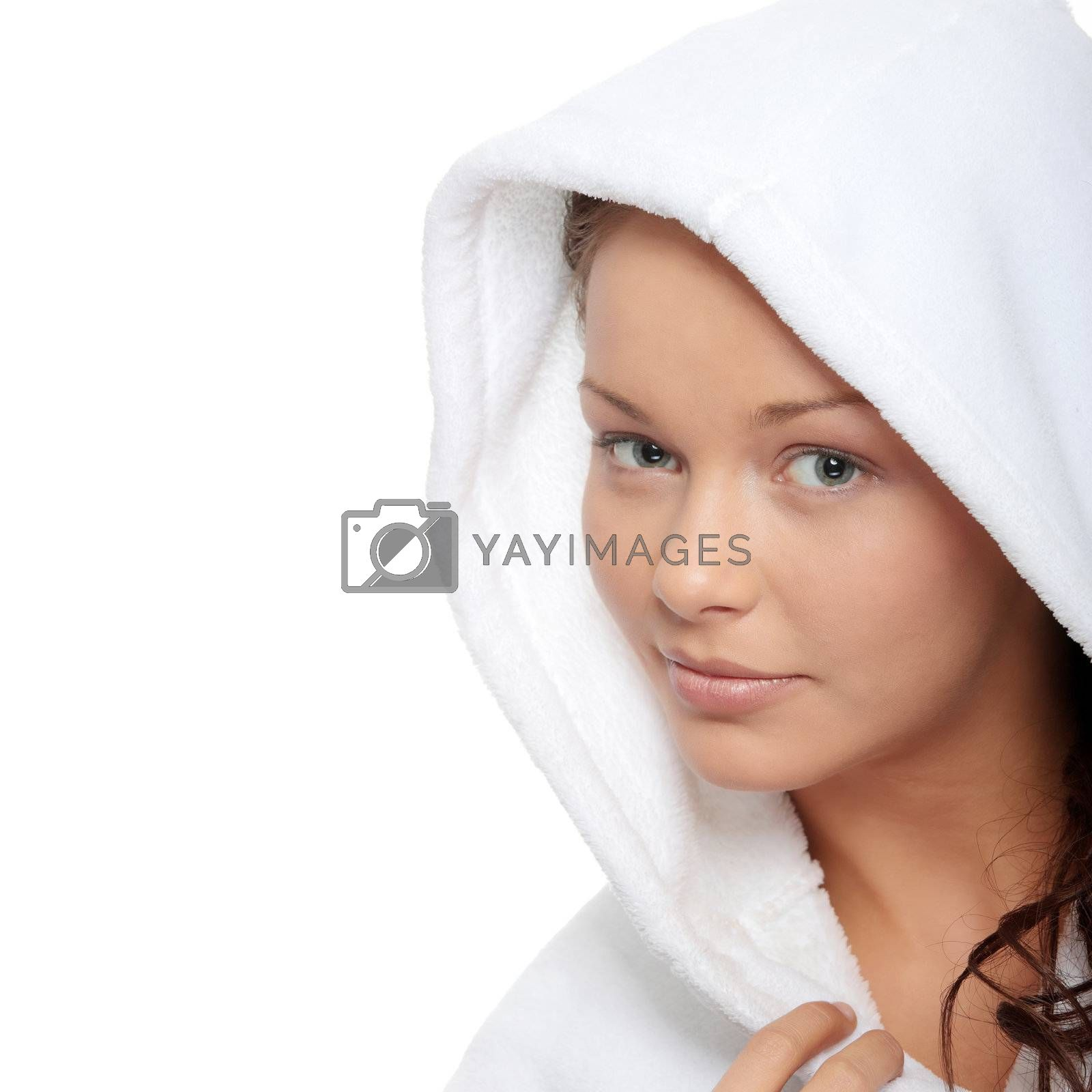 Beautiful young caucasian woman in bathrobe after bath calm portrait. Isolated