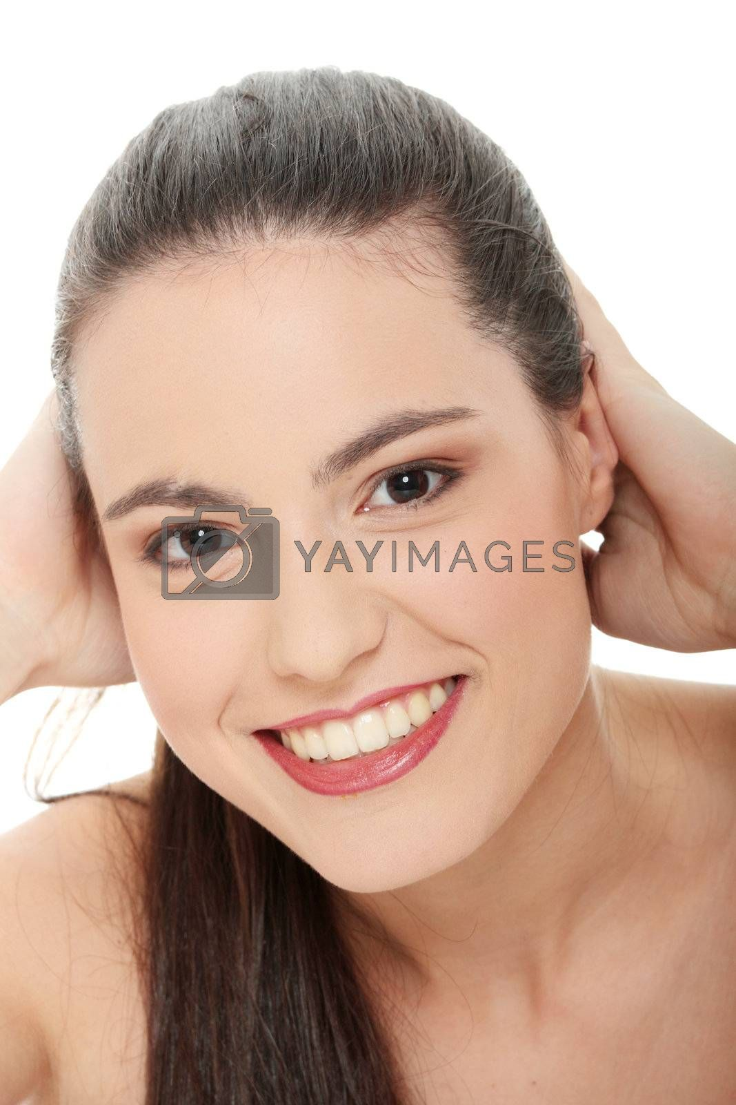 Beauty caucasian woman face  close up portrait