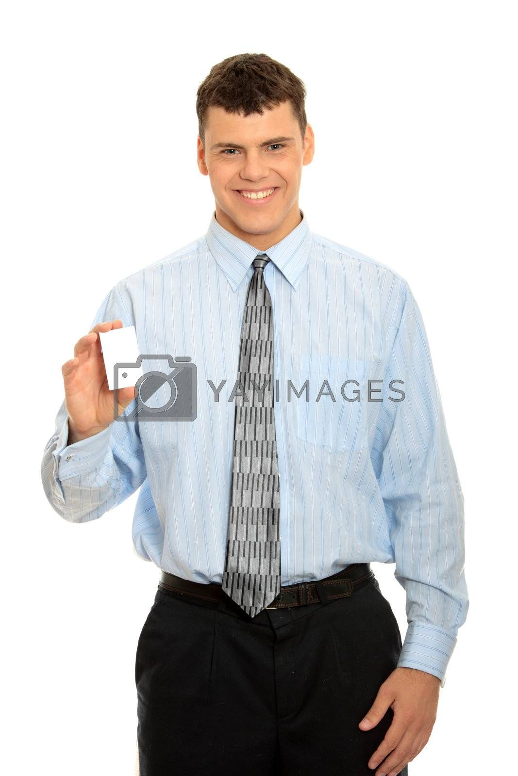 Businessman with blank business card by BDS