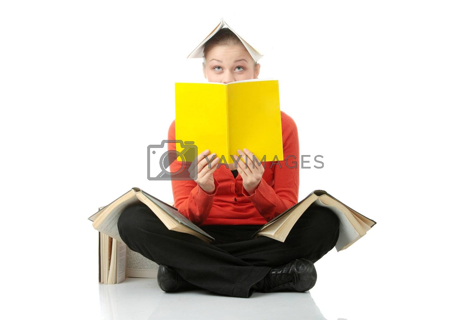 Young student woman with books all over her body, isolated on white