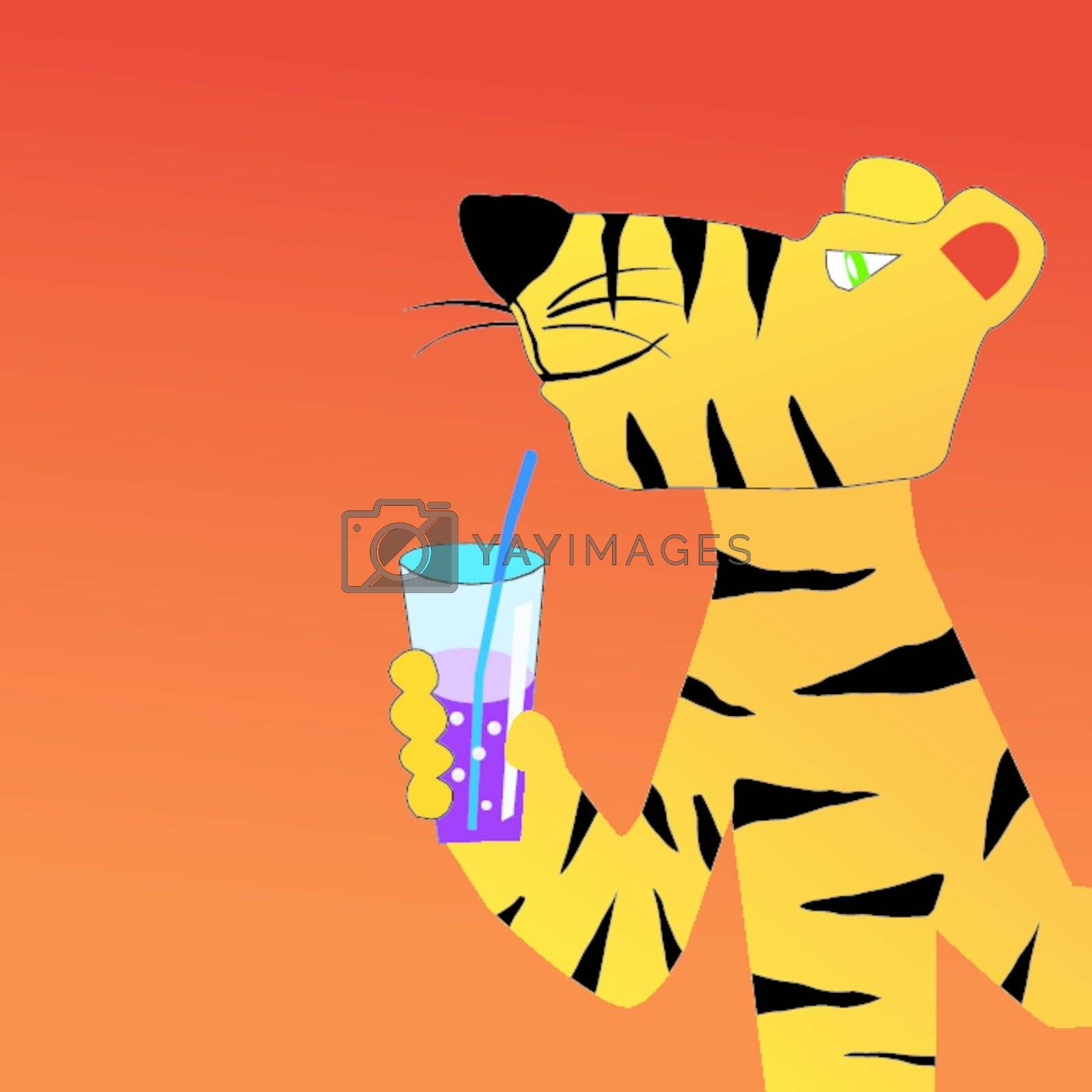 Funny character tiger with drinks