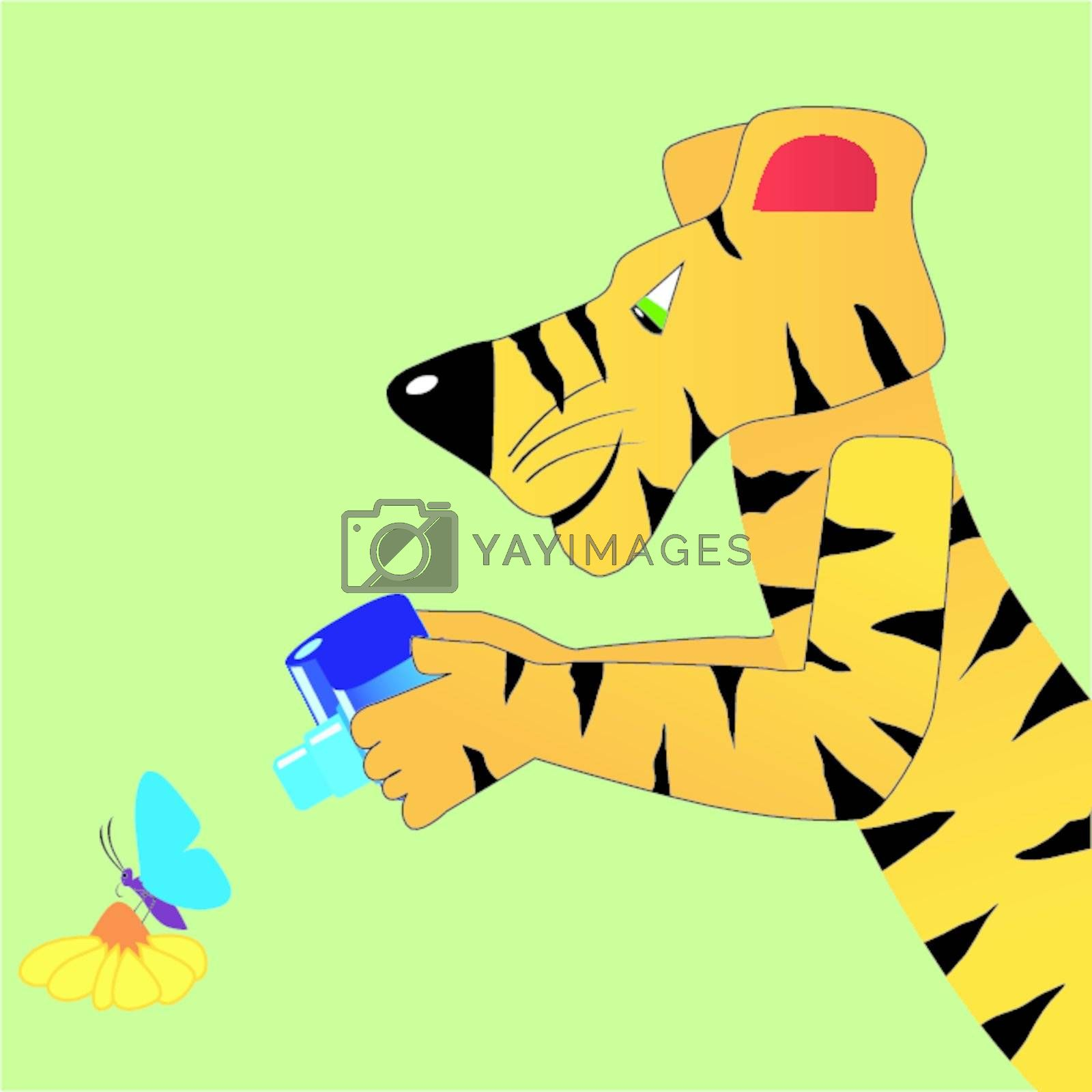 Funny character tiger with photocamera