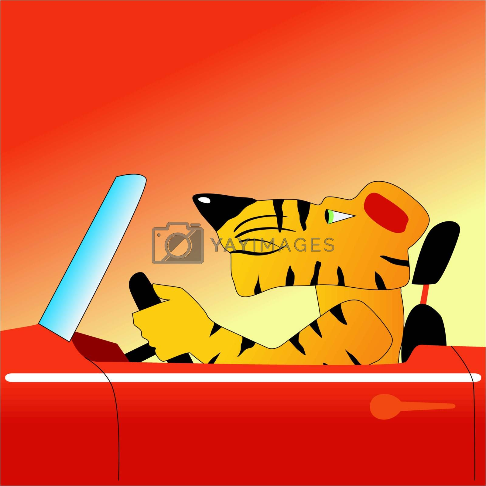 Funny character tiger on a car