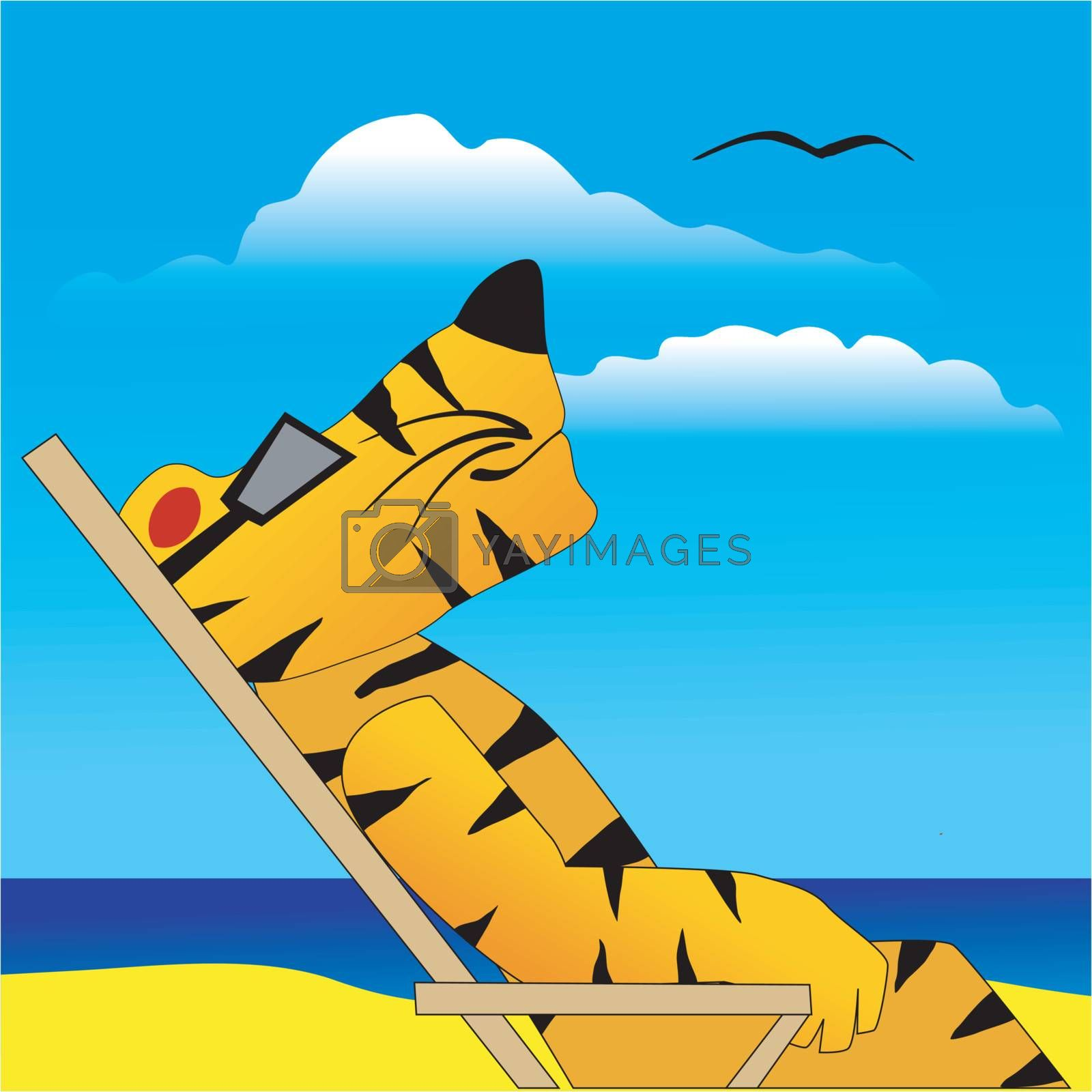 Funny character tiger on a beach
