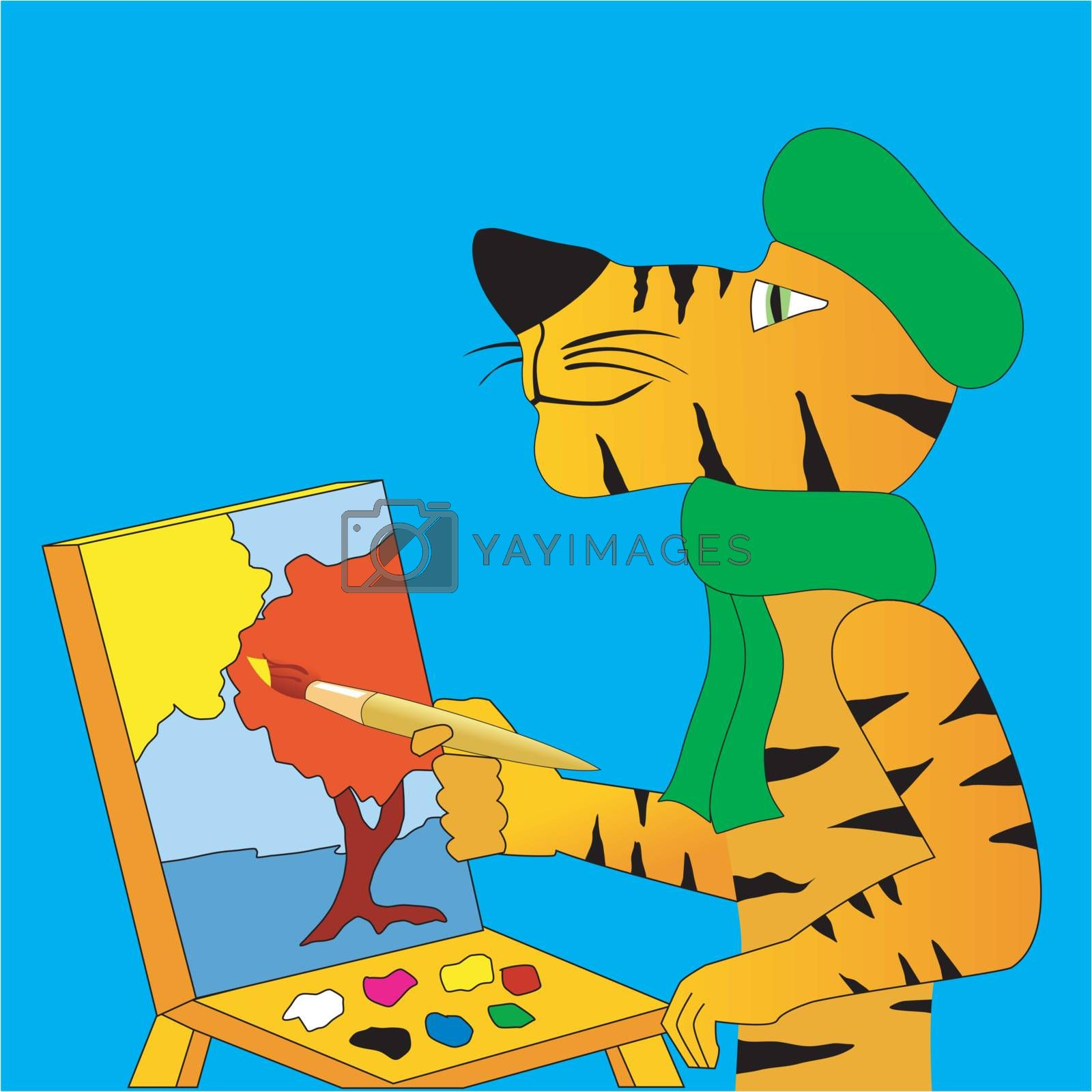 Funny character tiger paints a picture