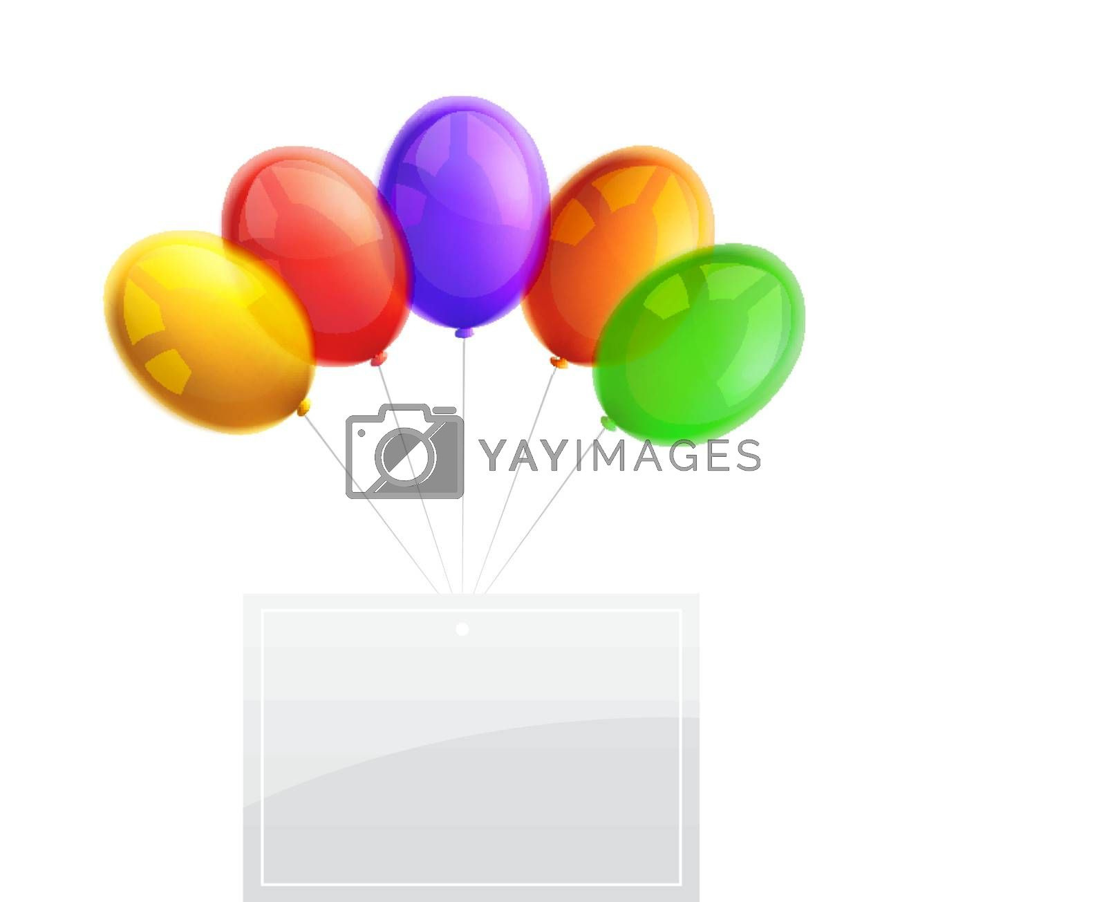 Beautiful Bright Party Balloons with banner isolated on white background