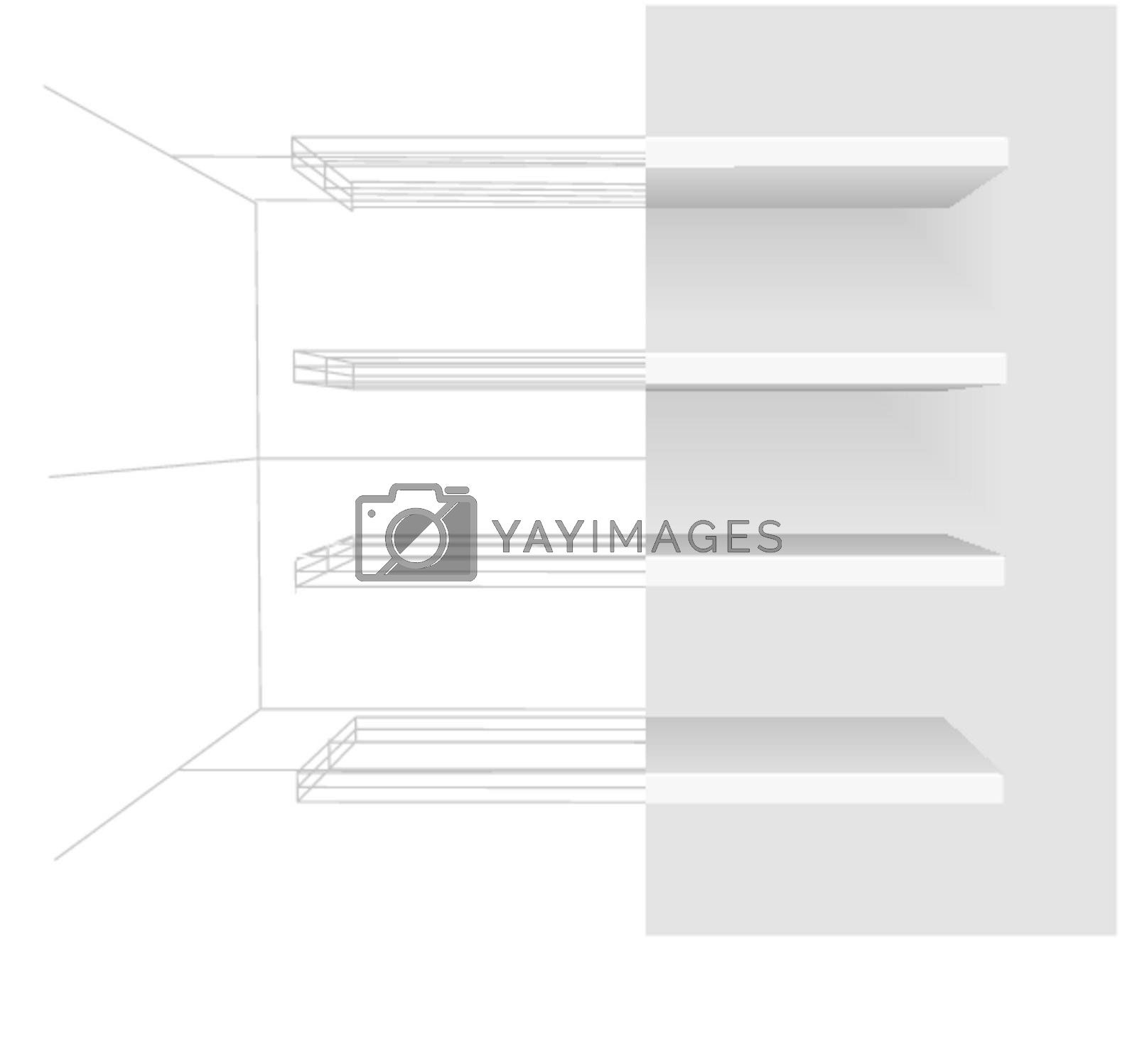 Vector shelves on gray background. Easy to edit and resize