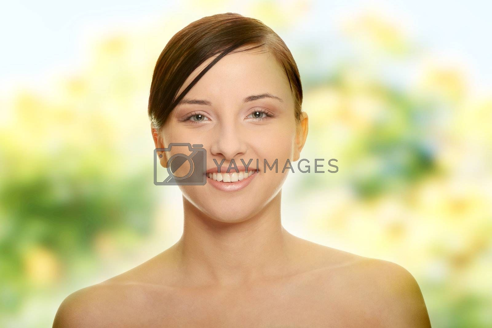 Portrait of young and beautiful caucasian woman