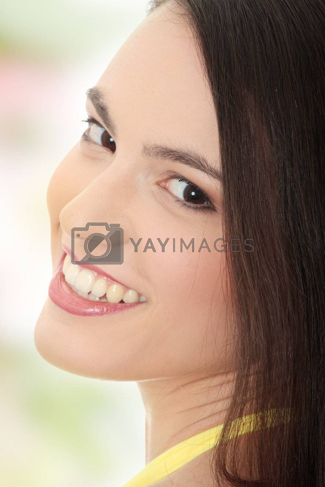 Beauty caucasian woman face  close up portrait