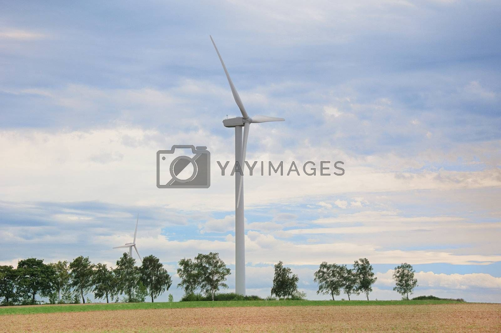 Wind turbines to generate electricity from wind in Germany.