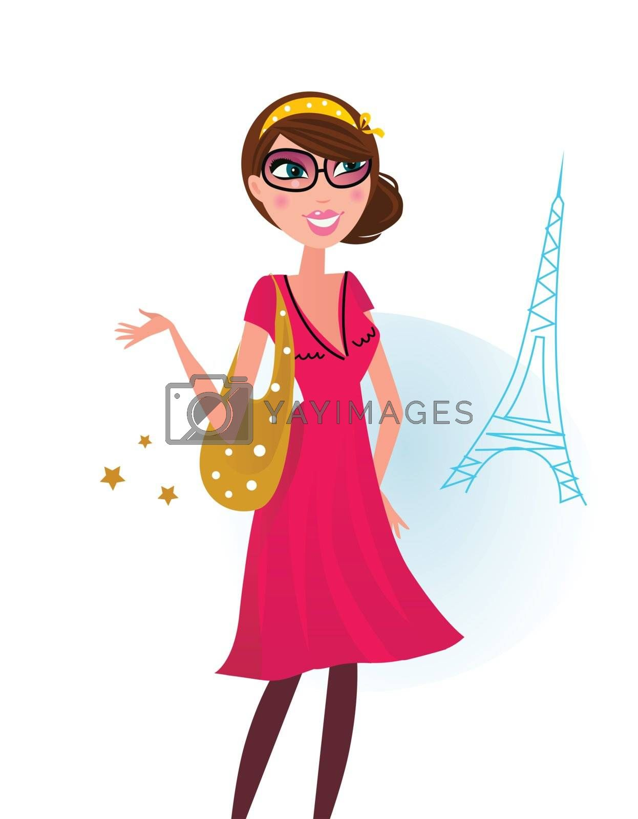 Woman in romance red dress with shopping bag in Paris. Vector Illustration.