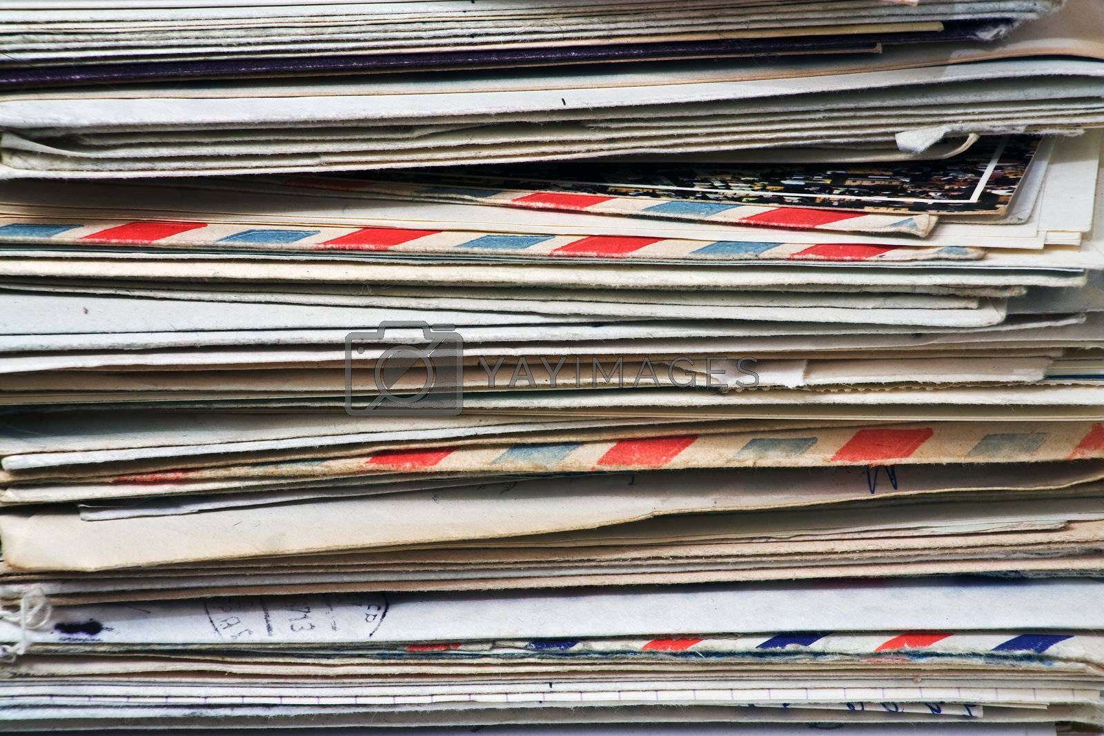 A bulk of old  letters and junk mail