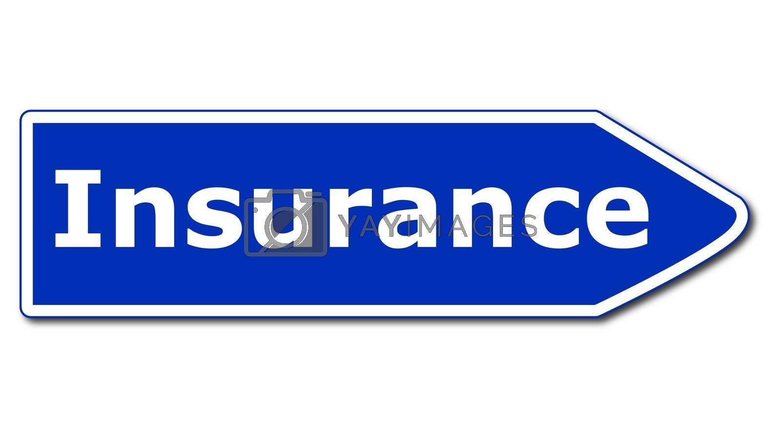 insurance or damage concept with road sign isolated on white background