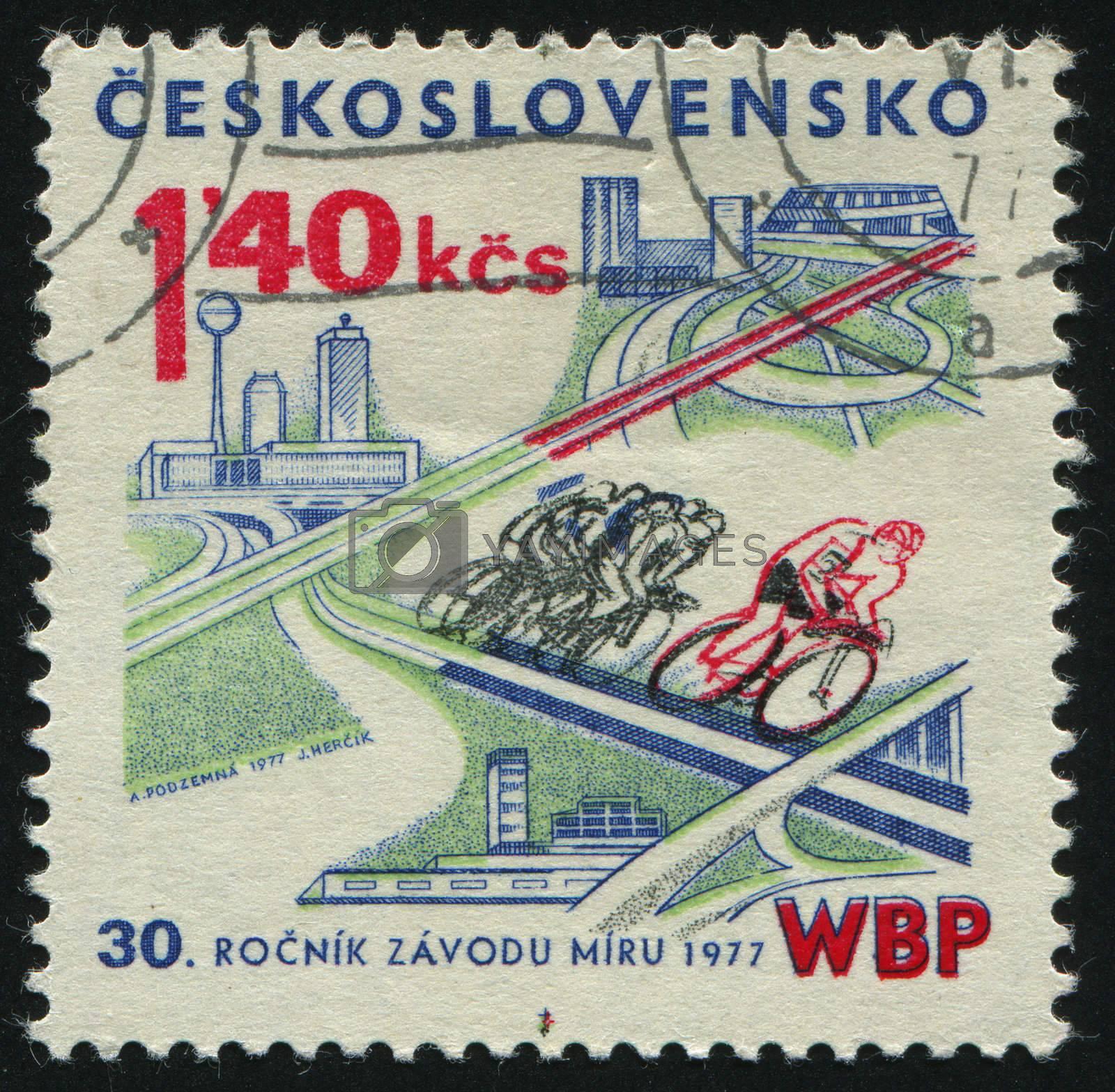 CZECHOSLOVAKIA - CIRCA 1977: Bicyclists on highways modern views of Berlin, Prague and Warsaw, circa 1977.