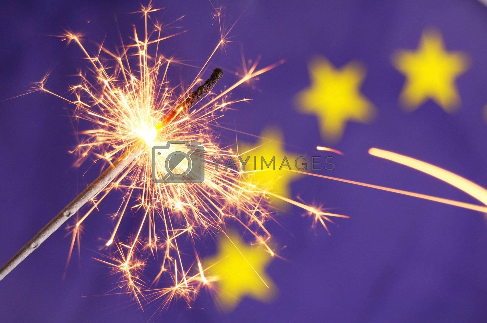 eu or european union flag with sparkler showing celebration concept