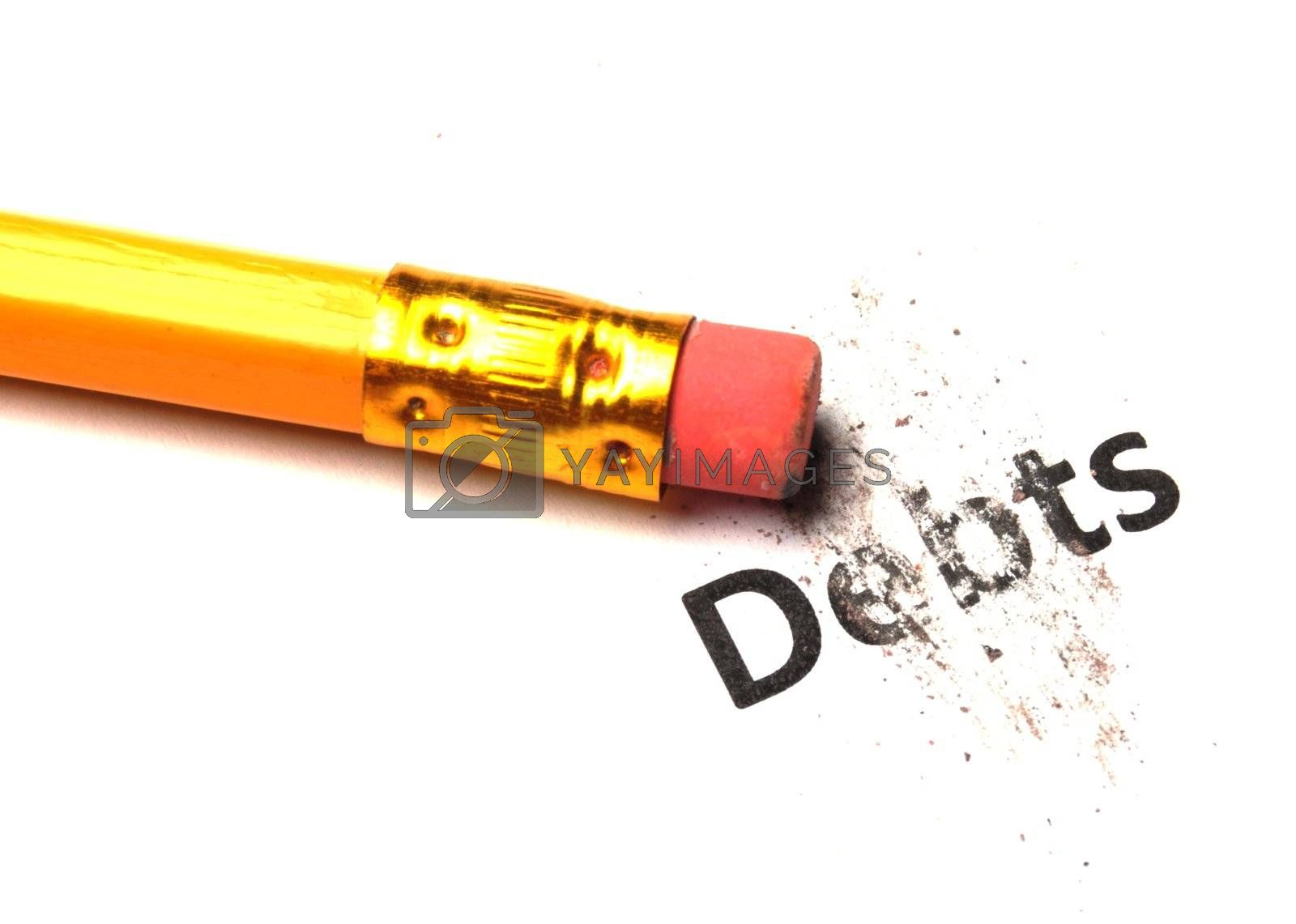 debt or debts concept with eraser showing finance or financial business problem concept