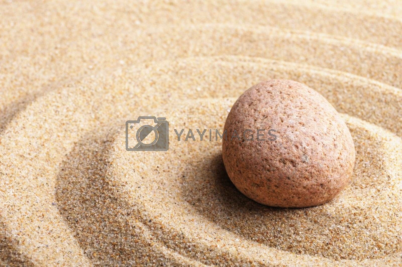 Royalty free image of zen stone and leaf by gunnar3000