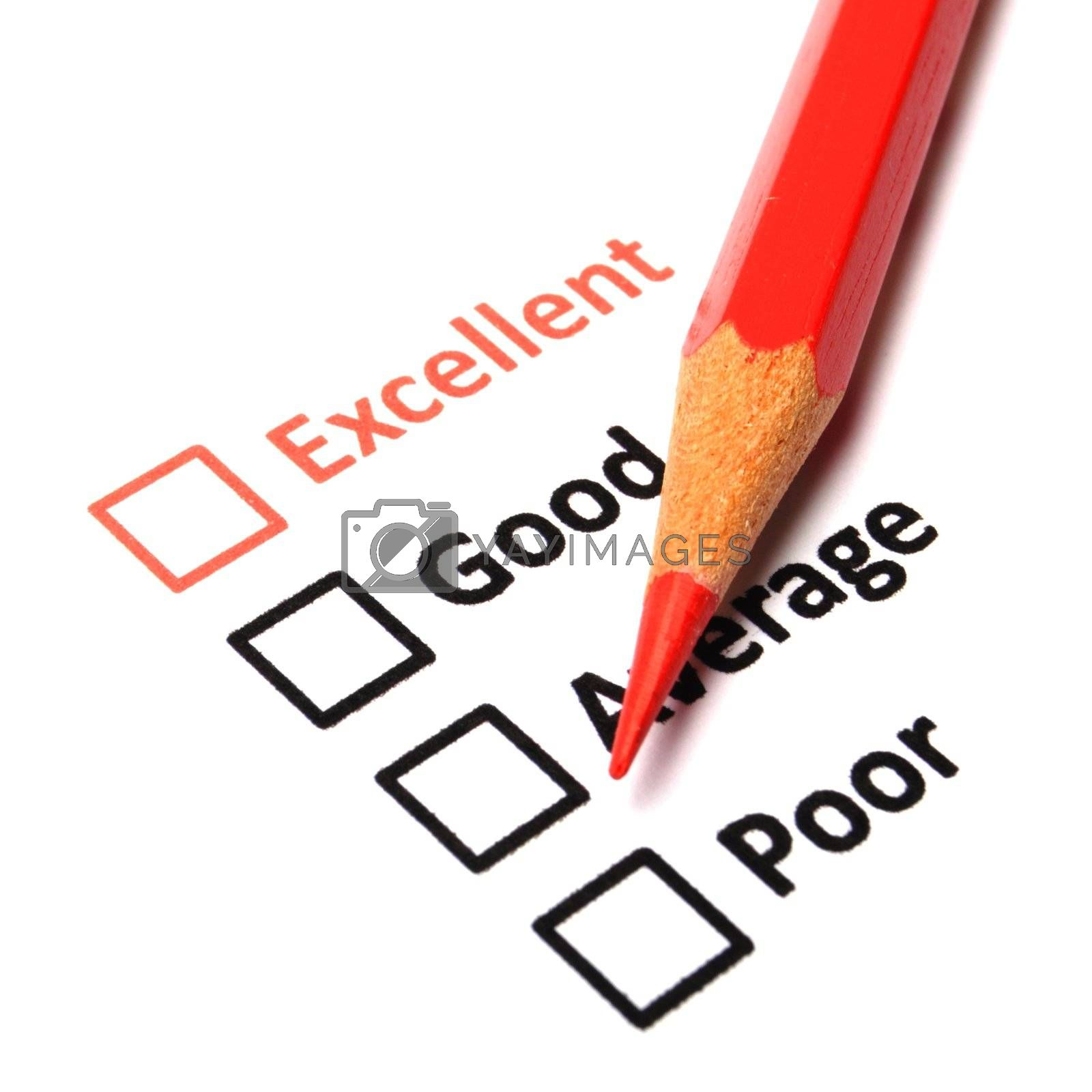 customer satisfaction survey form with checkbox showing marketing concept