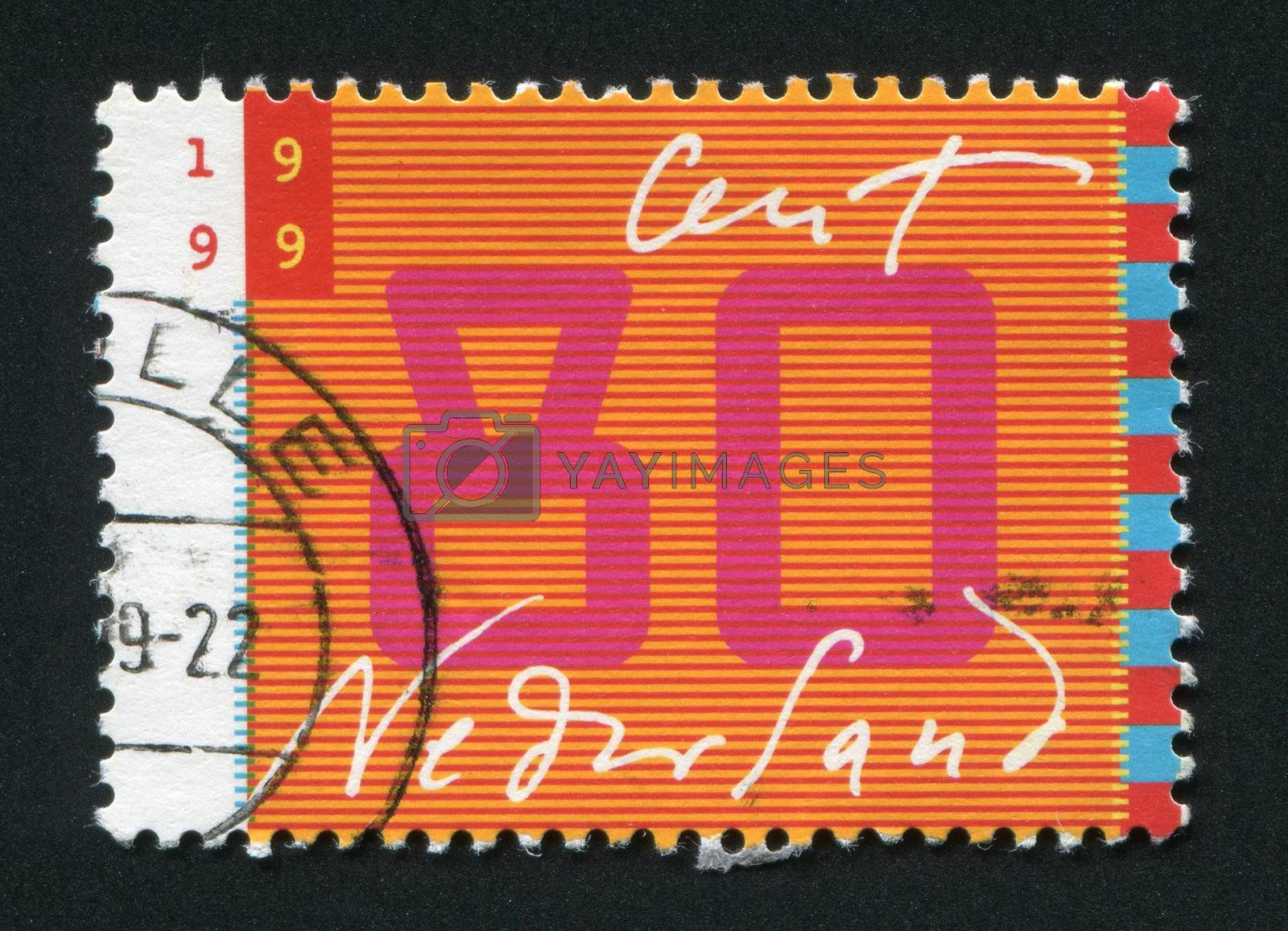 NETHERLANDS - CIRCA 1999: Stamp of the Netherlands with an abstract, colour background, circa 1999.