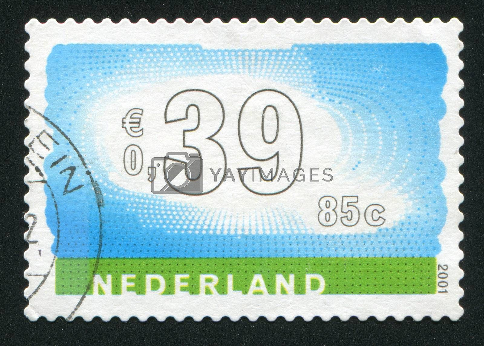 NETHERLANDS - CIRCA 2001: Stamp of the Netherlands with an abstract, colour background, circa 2001.