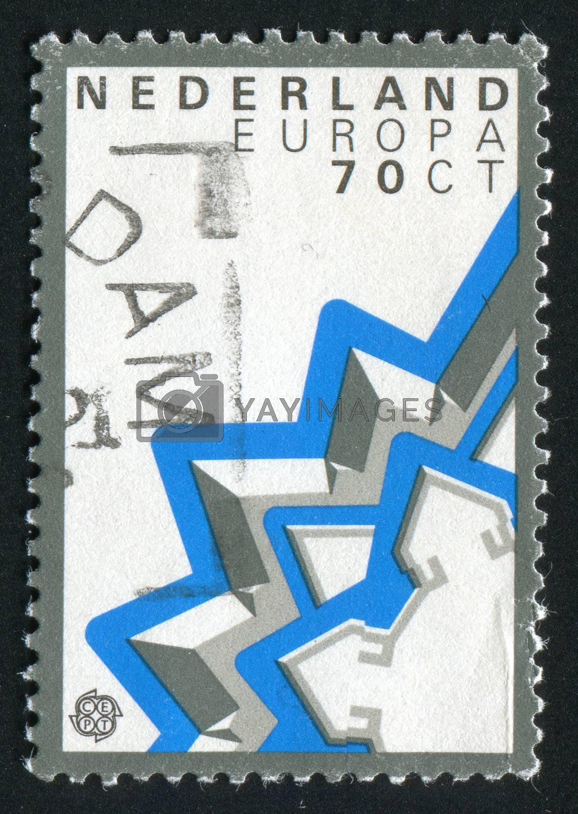 NETHERLANDS - CIRCA 1972: Sparkling stars on a white background, circa 1972.