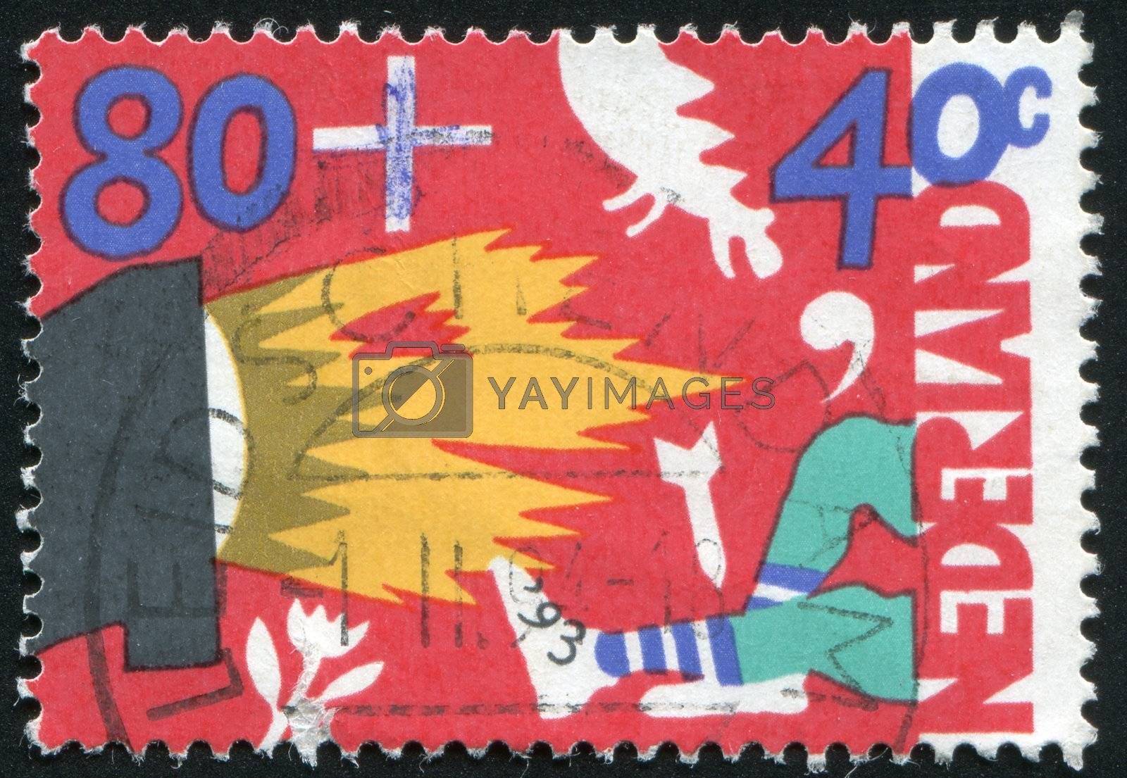 NETHERLANDS - CIRCA 1993: Abstract children's drawing, circa 1993.