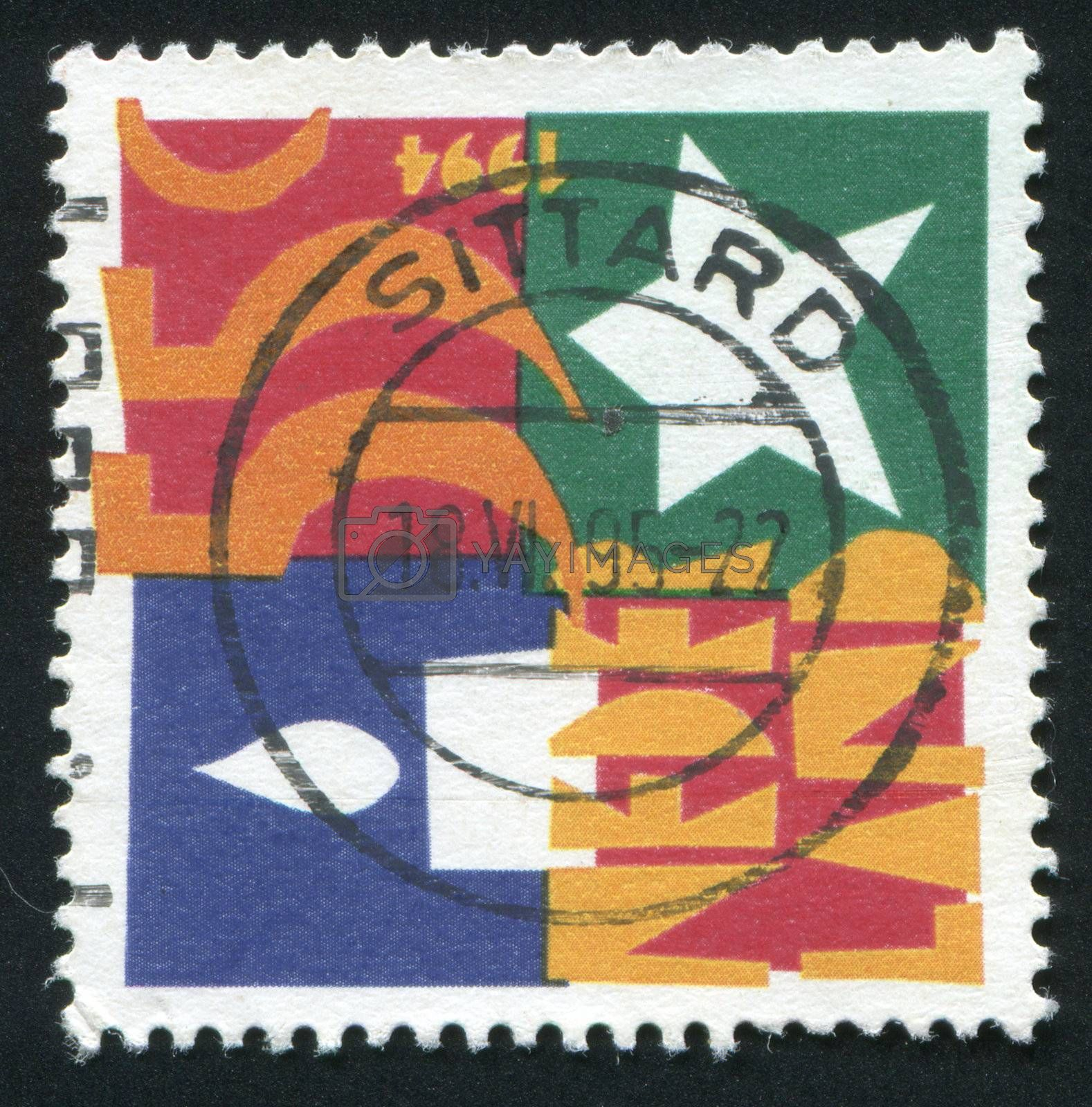NETHERLANDS - CIRCA 1995: Stamp of the Netherlands with an abstract, colour background, circa 1995.