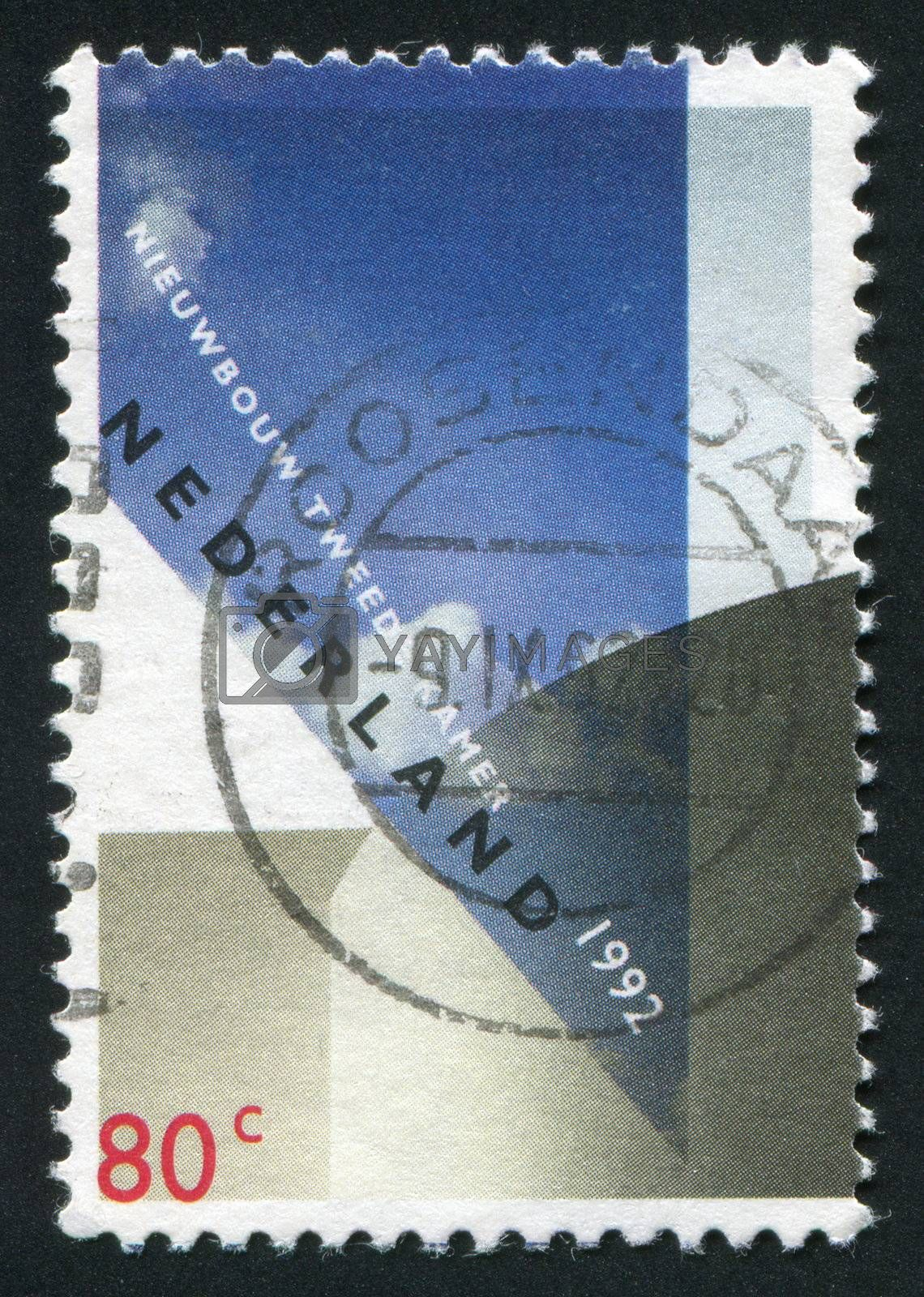 NETHERLANDS - CIRCA 1992: Stamp of the Netherlands with an abstract, colour background, circa 1992.