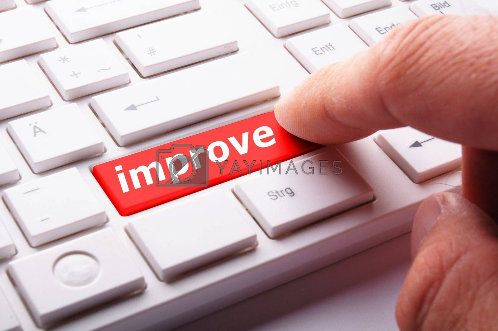 improvement or improve on key or button showing investment concept