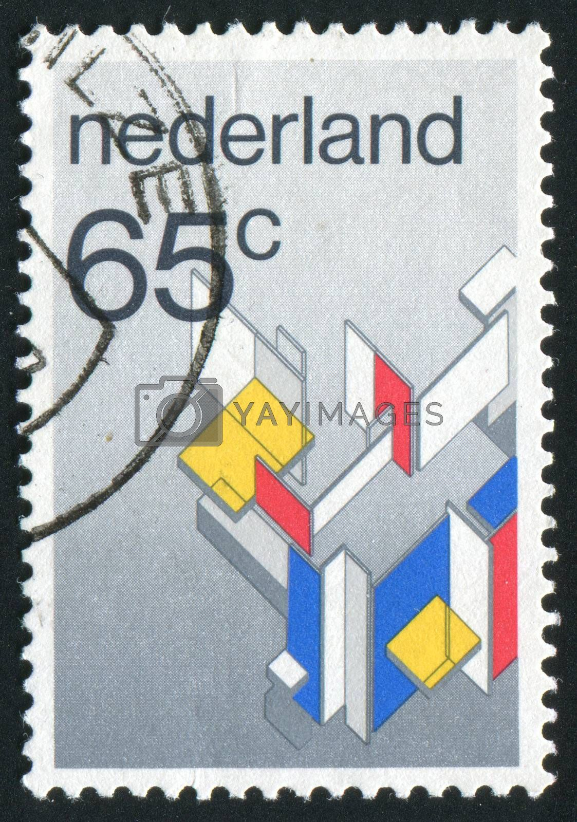 NETHERLANDS - CIRCA 1990: Stamp of the Netherlands with an abstract, colour background, circa 1990.
