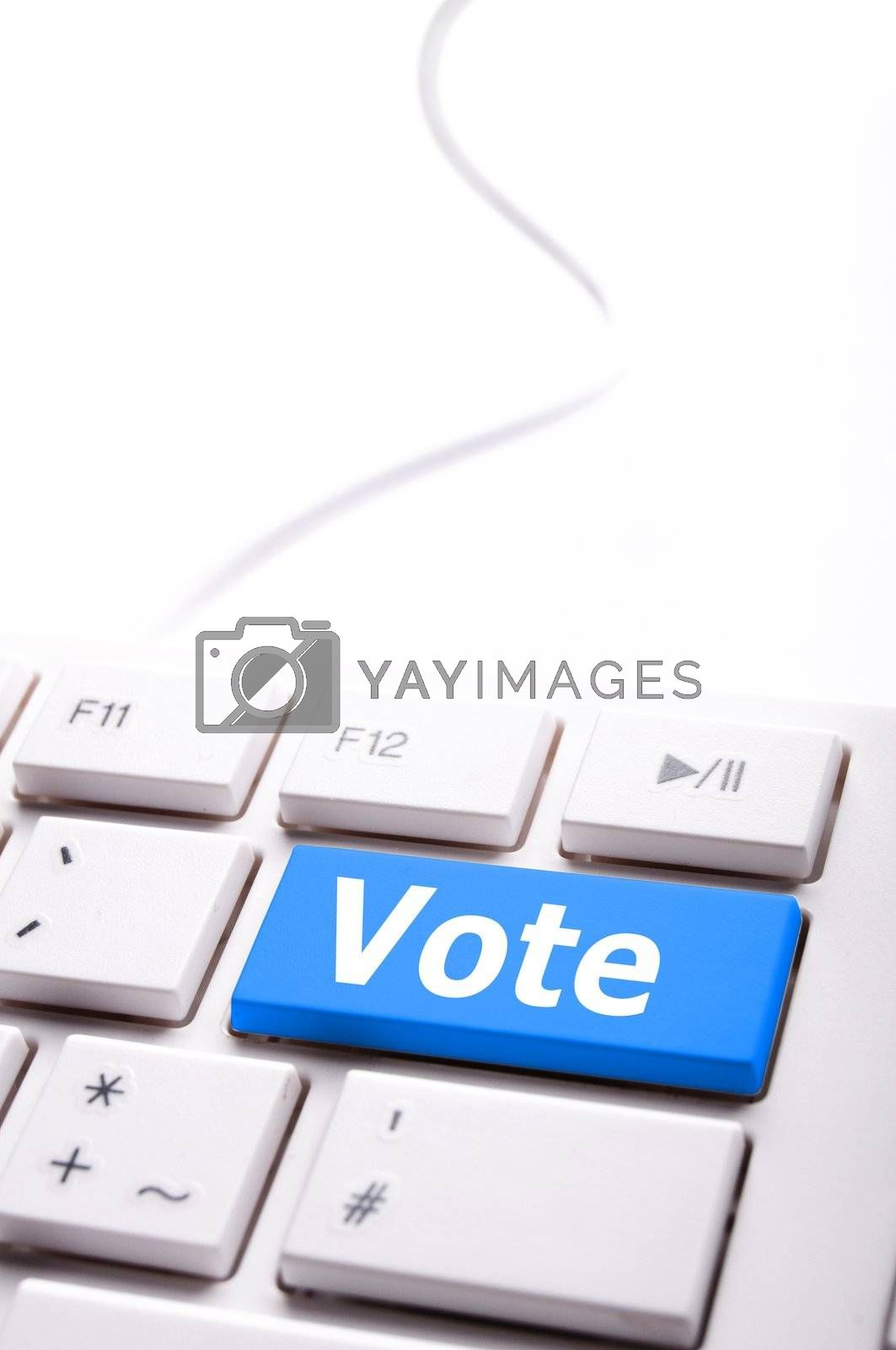 election concept with vote key showing poll polling or voting