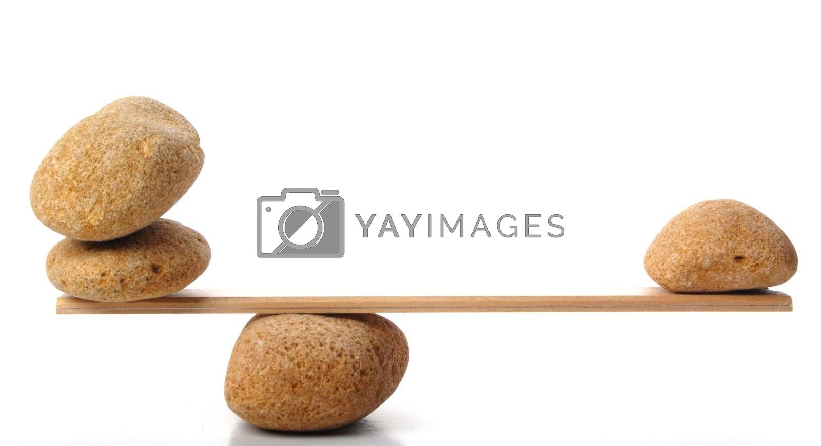 zen stones scales isolated on white showing weight or spa concept with copyspace