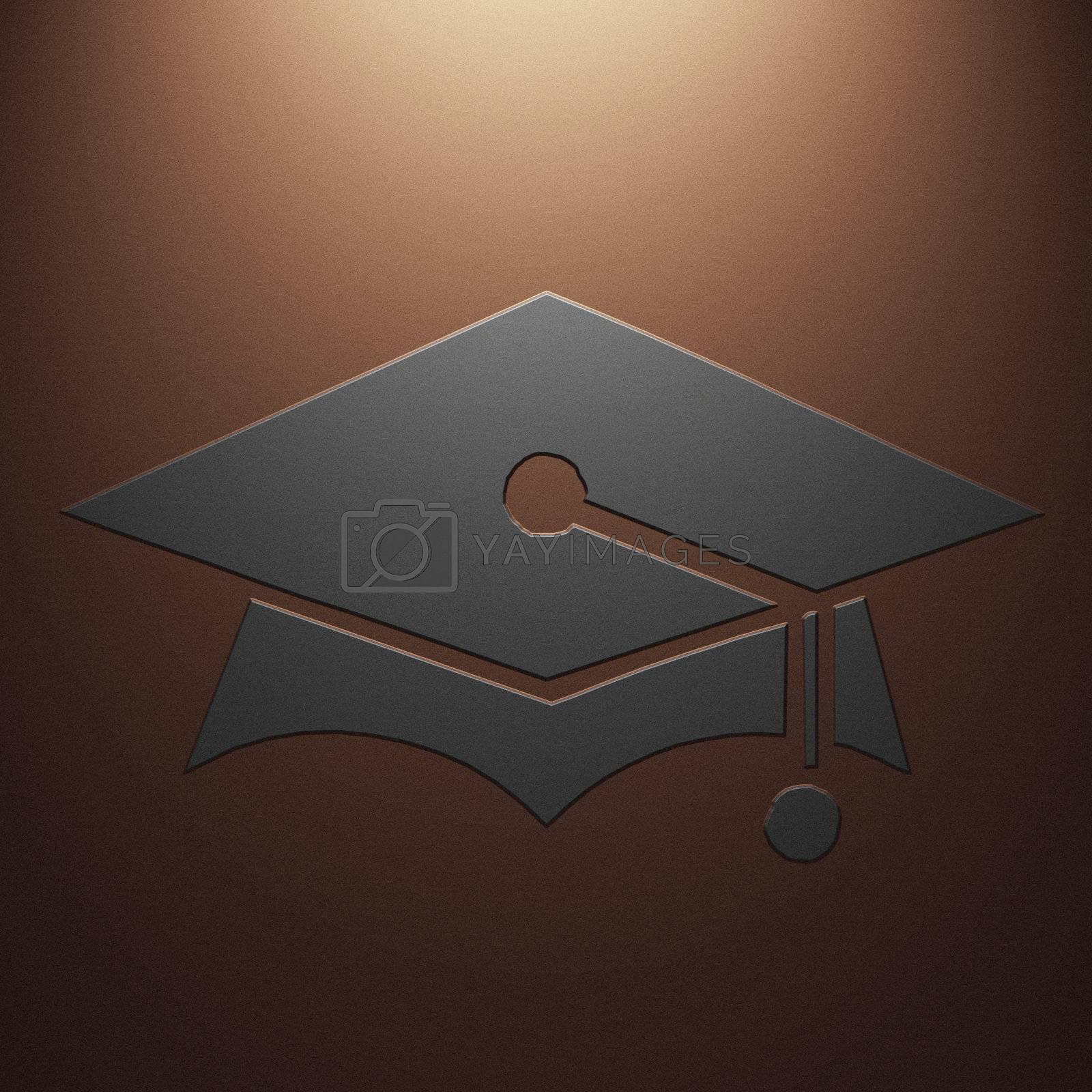 High resolution image symbol on a metal background. 3d illustration.