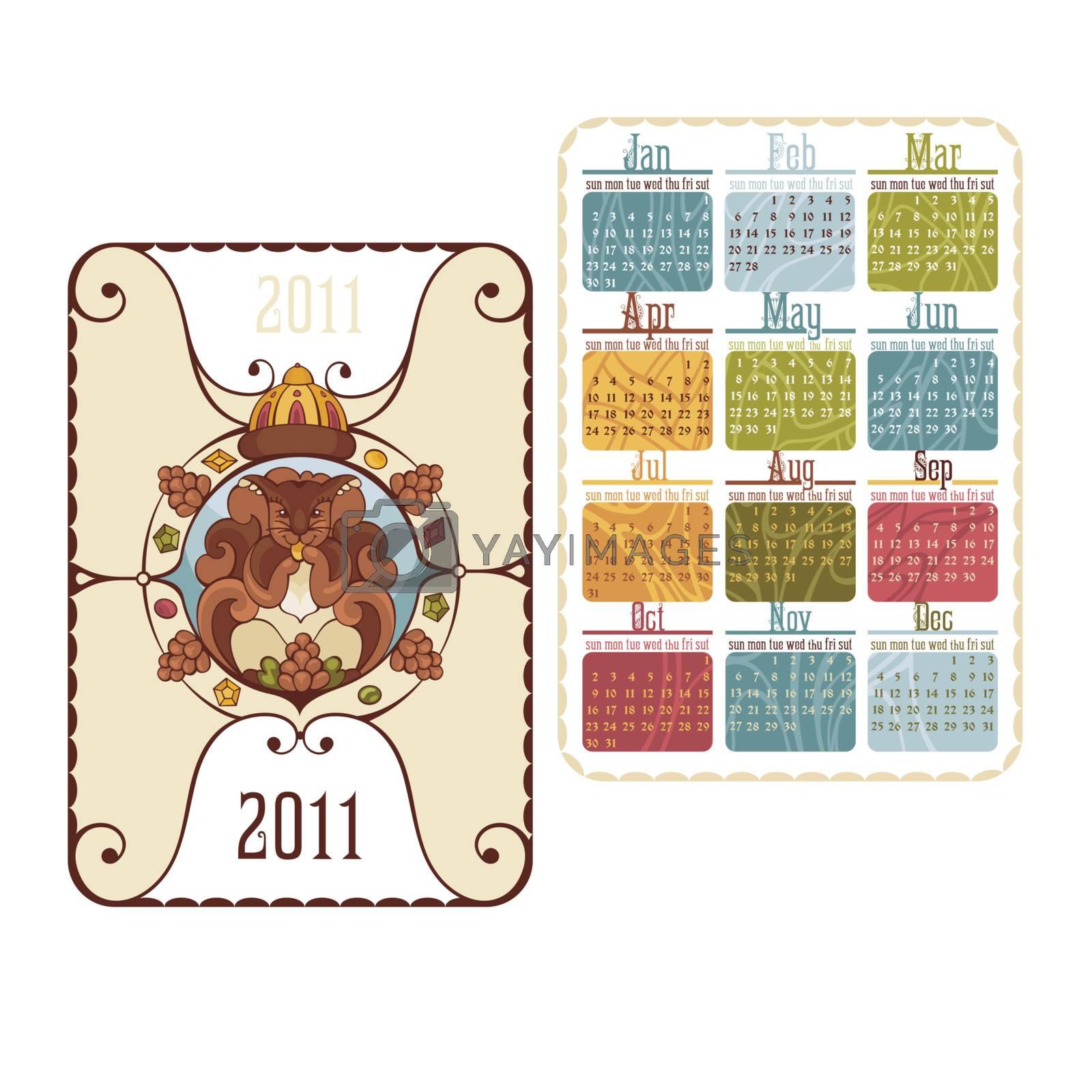pocket calendar with cute squirrel vector illustration