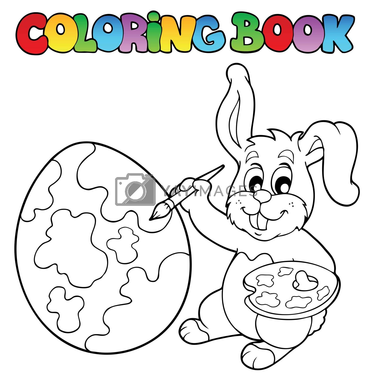 Coloring book with bunny artist - vector illustration.