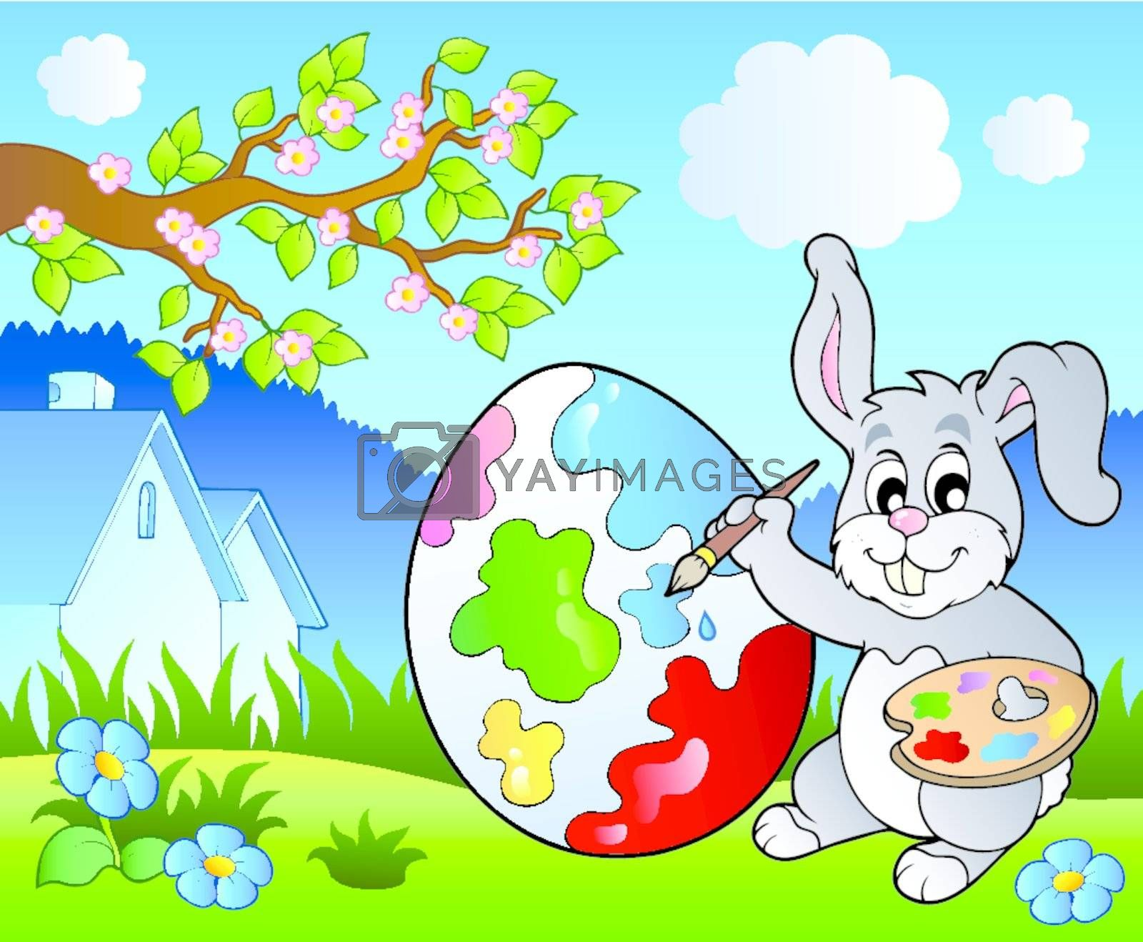 Spring meadow with bunny artist - vector illustration.