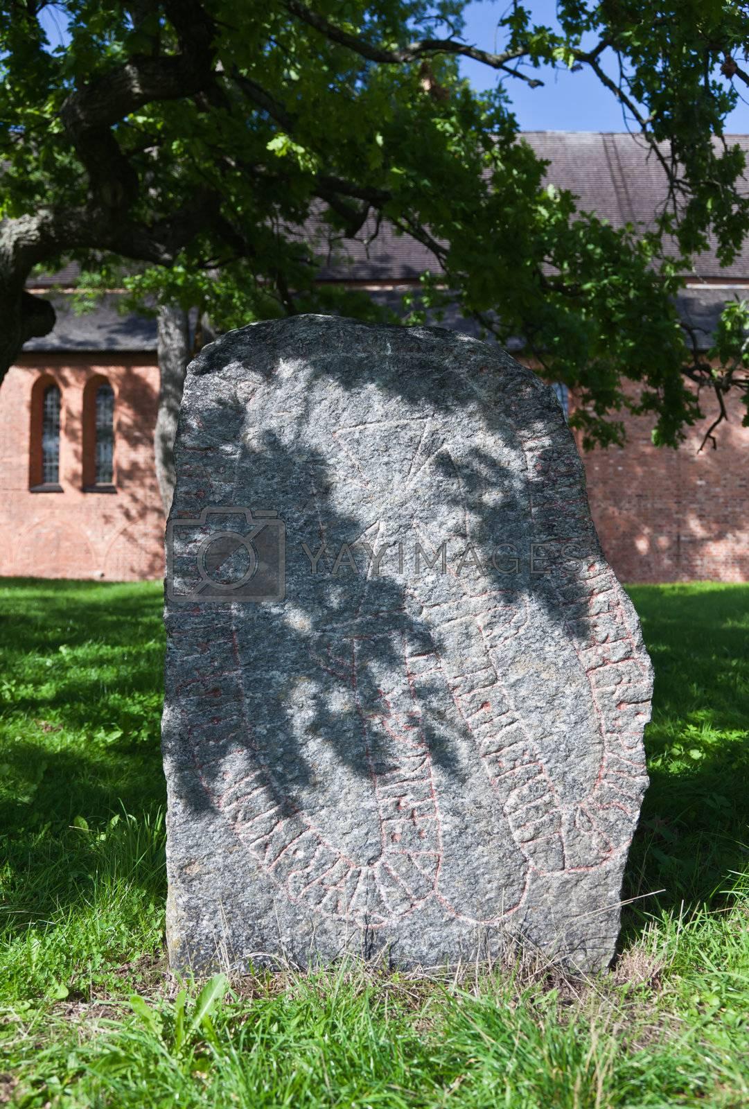 Ancient rune stone near uppsala in Sweden