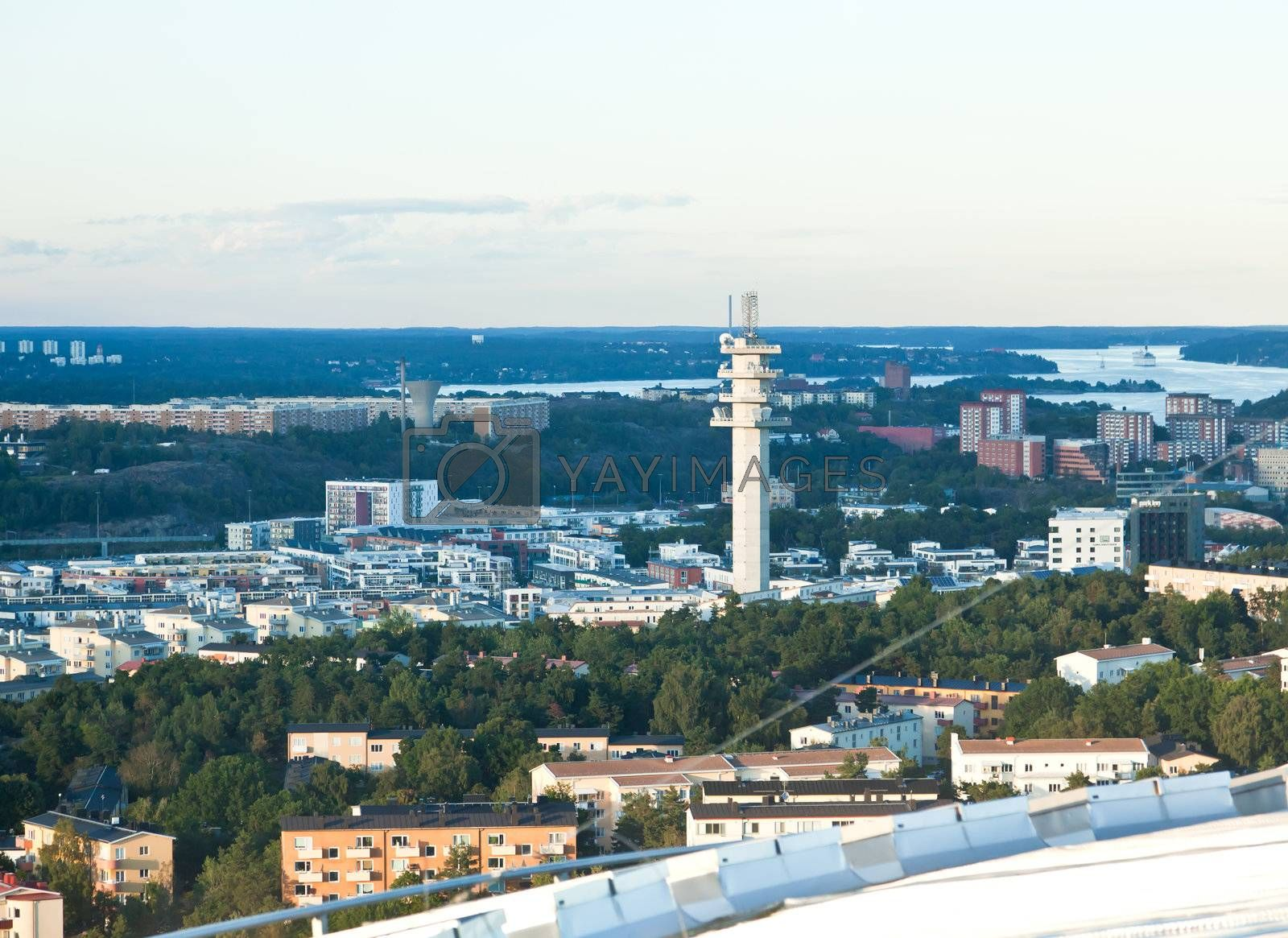 aerial view of great Stockholm area Sweden