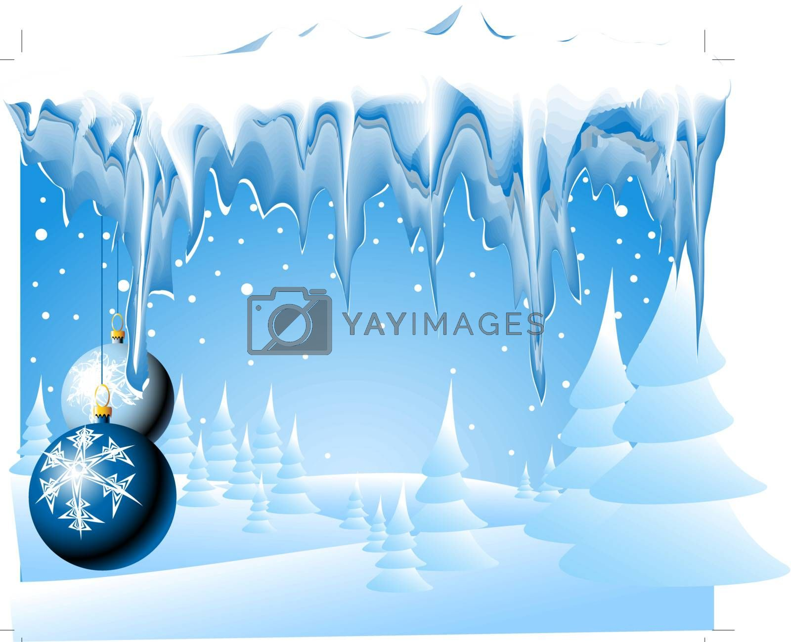 Christmas landscape with christmas bulbs and icicles