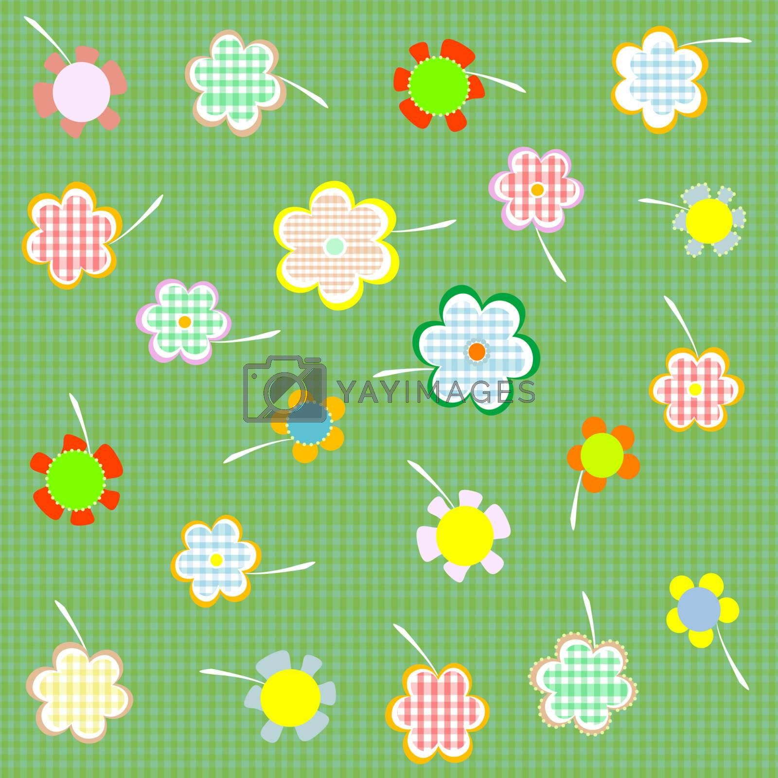 floral seamless retro pattern with many beautiful flowers Vector
